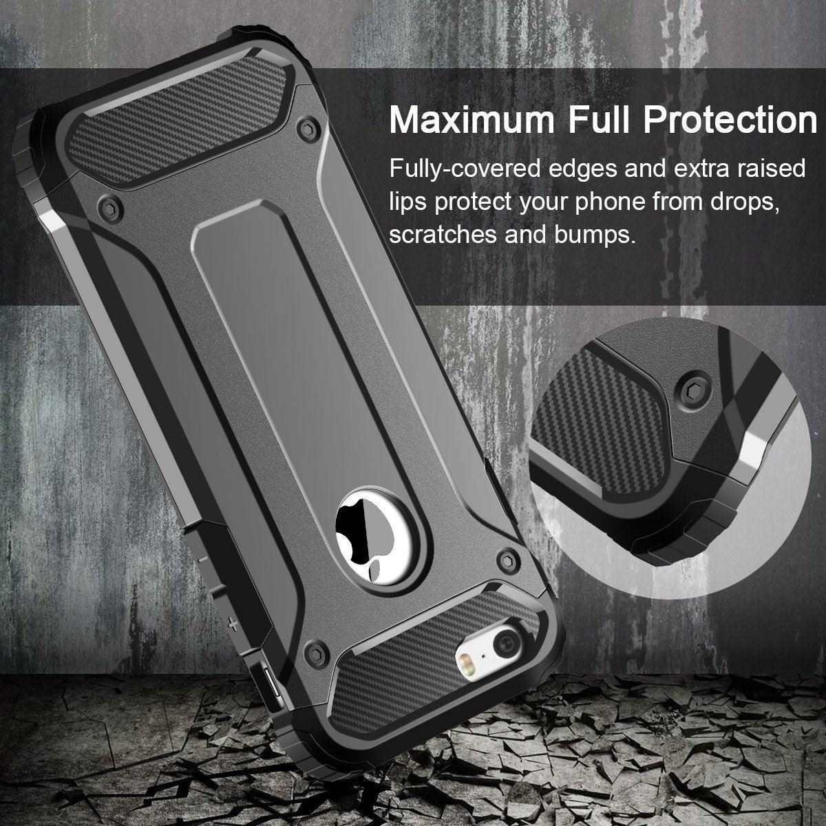Hybrid-Armor-Shockproof-Rugged-Bumper-Case-For-Apple-iPhone-10-X-8-7-Plus-6s-5s miniature 68