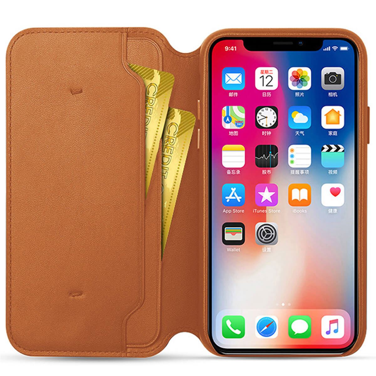Genuine-Leather-Folio-Flip-Wallet-Case-Cover-For-Apple-iPhone-X-8-7-6S-6-Plus thumbnail 19