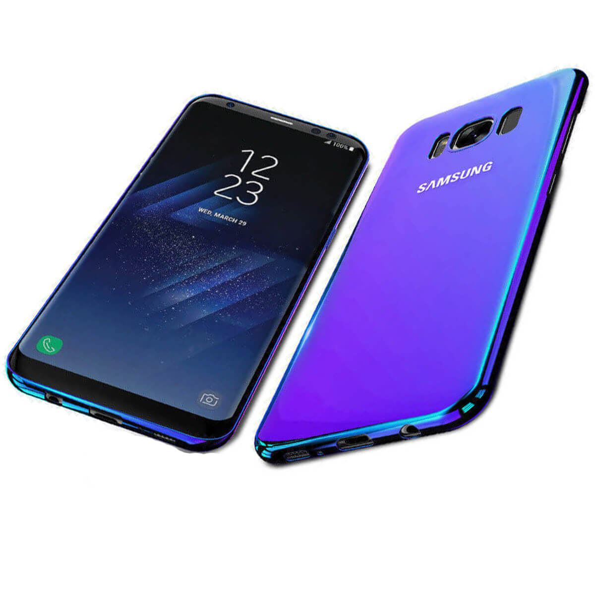 Mirror-Hard-Back-Case-For-Samsung-Galaxy-S7-S8-Blu-Ray-Gradient-Colour-Cover thumbnail 5