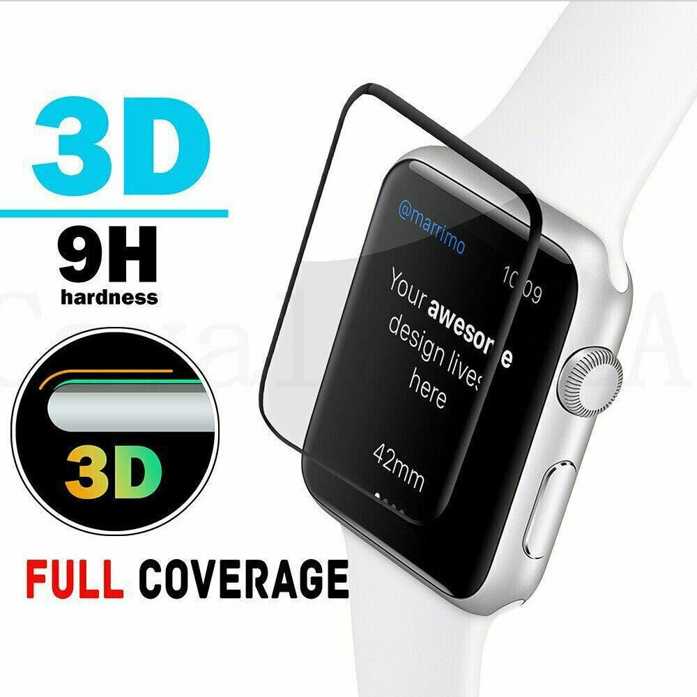 For-Apple-Watch-6-5-4-3-FULL-COVER-Tempered-Glass-Screen-Protector-38-42-40-44mm thumbnail 3