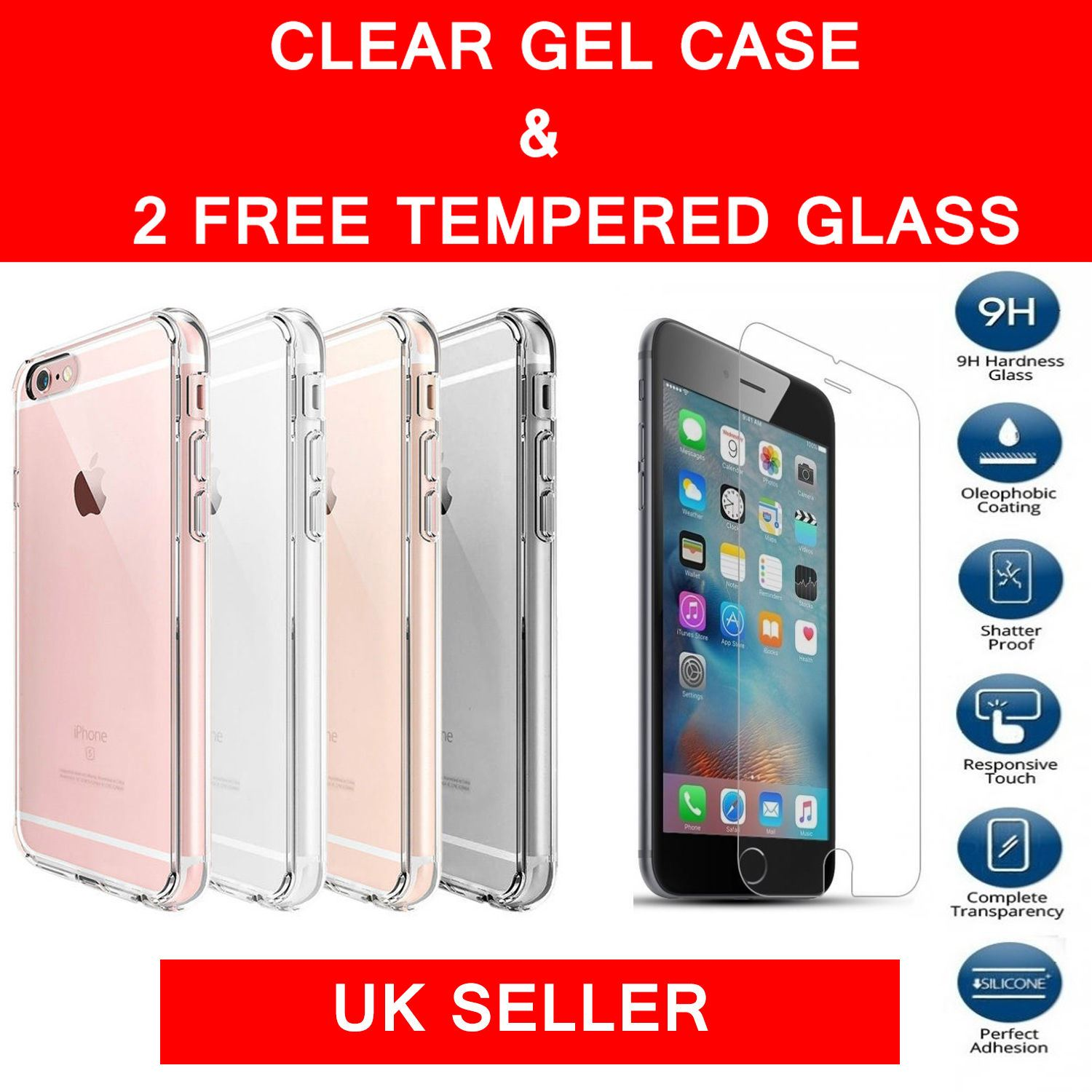 Clear Tpu Gel Case Tempered Glass Protector For Apple Iphone 5 5s Se 4g 4s 5c 6 6s Plus