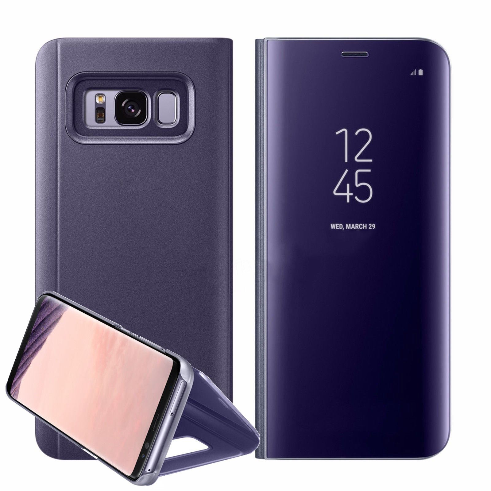 New-Samsung-Galaxy-S8-S9-S10-Smart-View-Mirror-Leather-Flip-Stand-Case-Cover miniatura 30