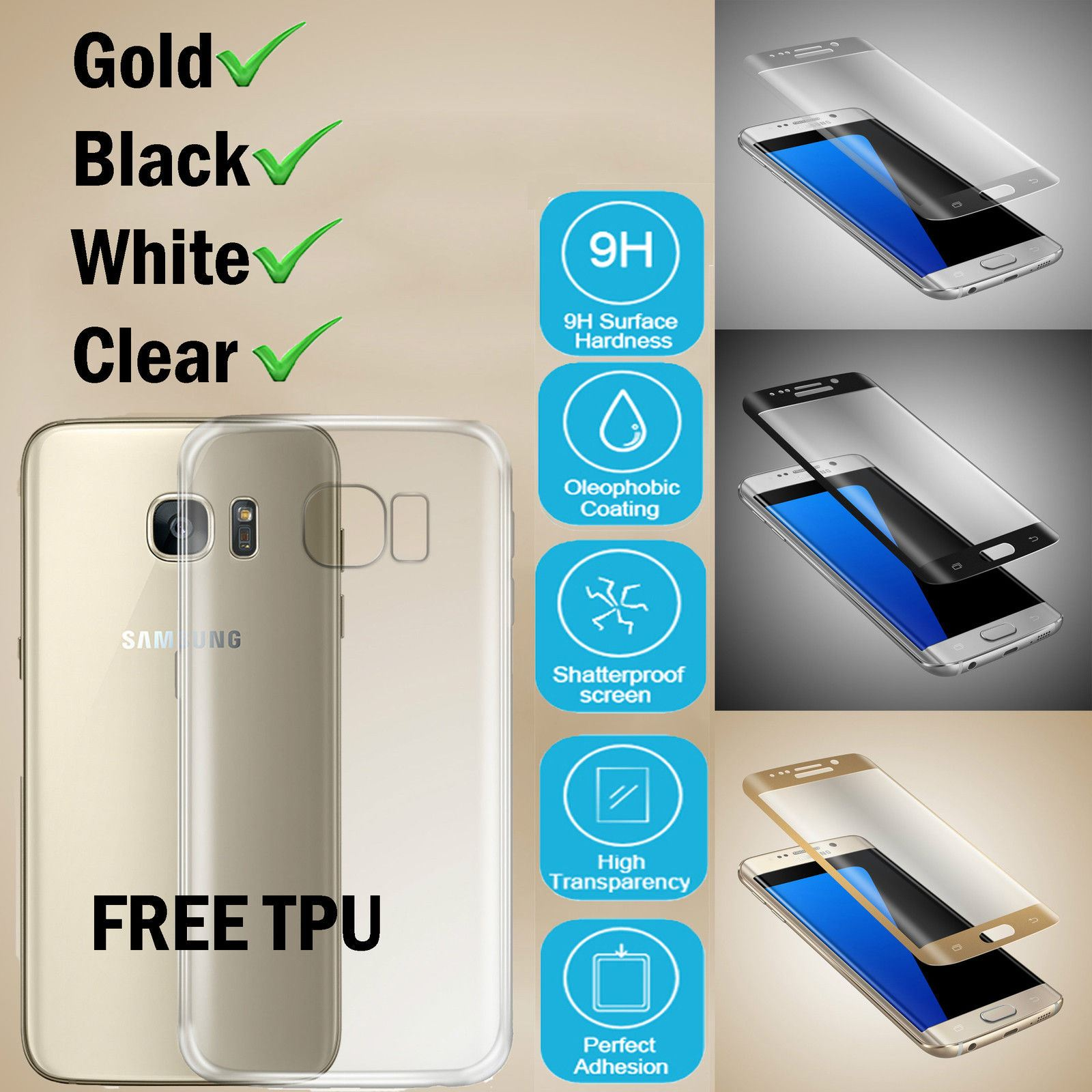 0701210c4c1 Details about Samsung Galaxy S7 Edge 3D Tempered Glass Screen Protector +  Clear TPU Case Cover