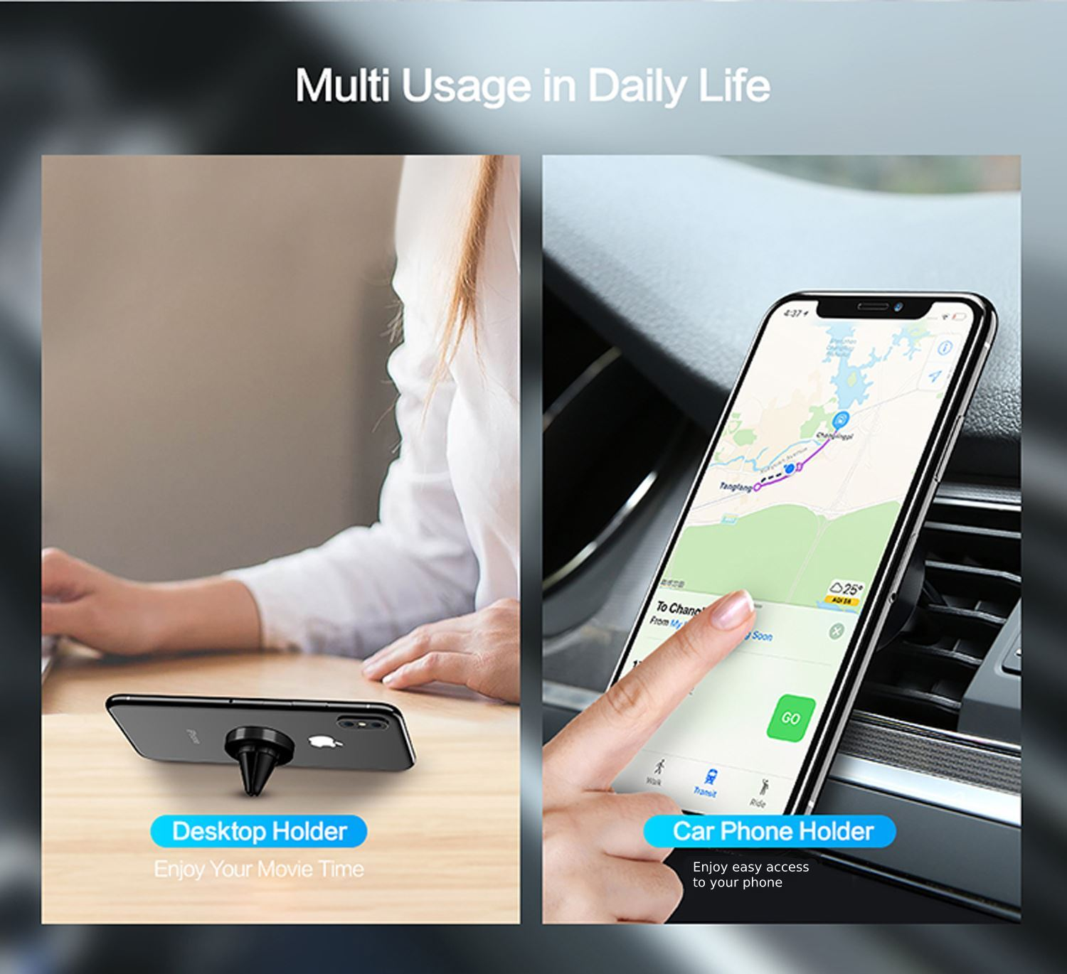 Car-Vent-Phone-Holder-Magnetic-amp-360-Rotating thumbnail 3