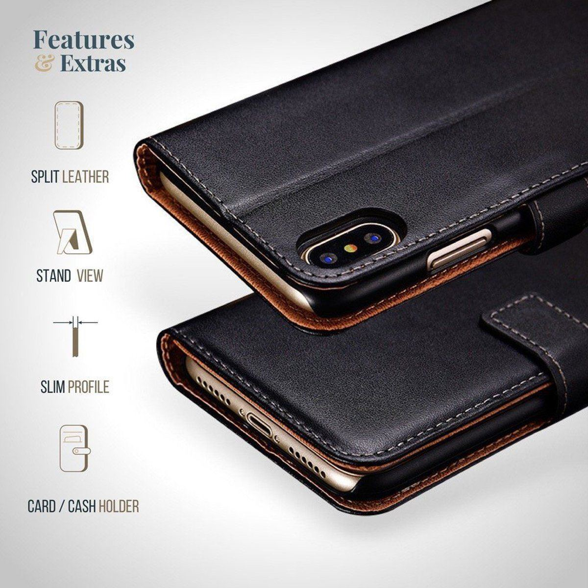 thumbnail 4 - For Apple iPhone 12 11 XR XS Max Leather Flip Wallet Magnetic Stand Card Case