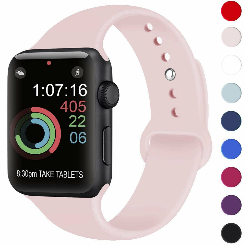 Strap-For-Apple-Watch-Silicone-Comfortable-Durable-Waterproof-Band thumbnail 24