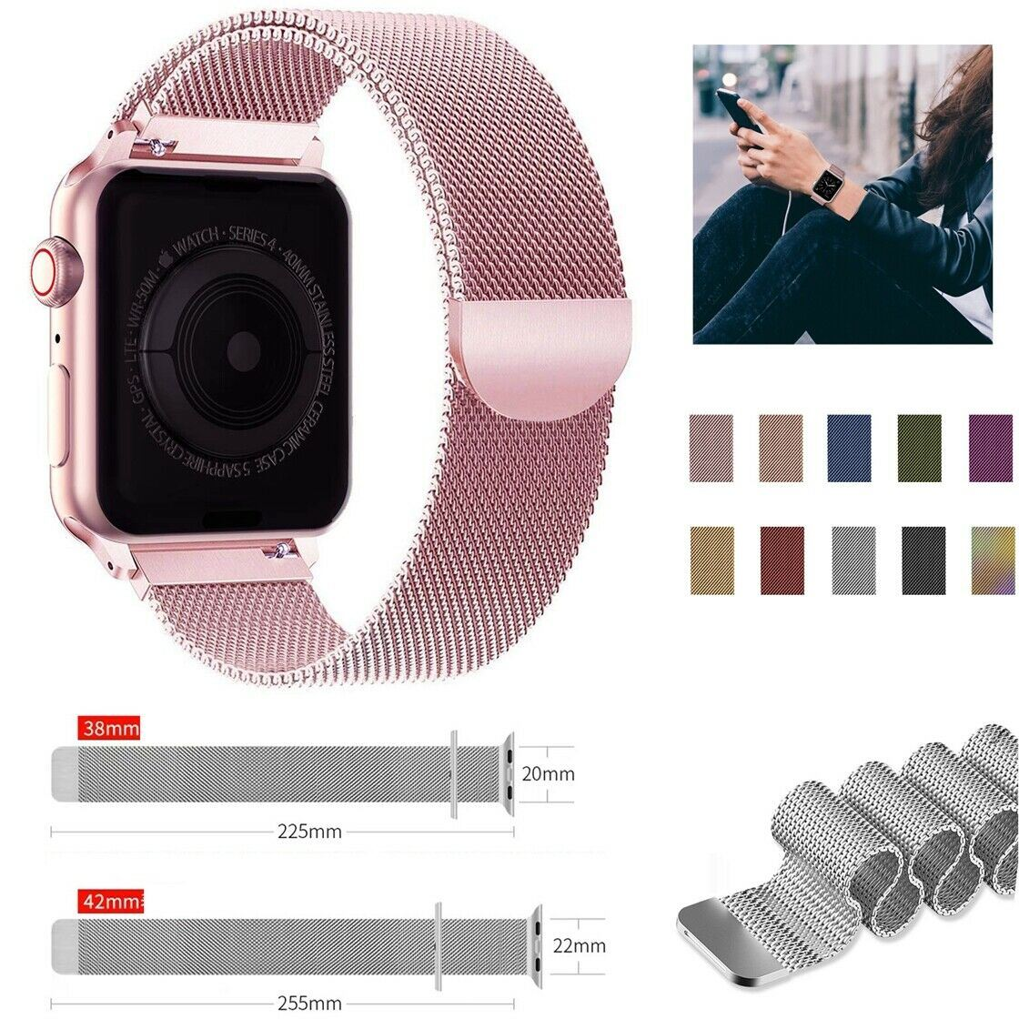 Band-For-Apple-Watch-Milannese-Loop-Stainless-Steel-Strap thumbnail 17