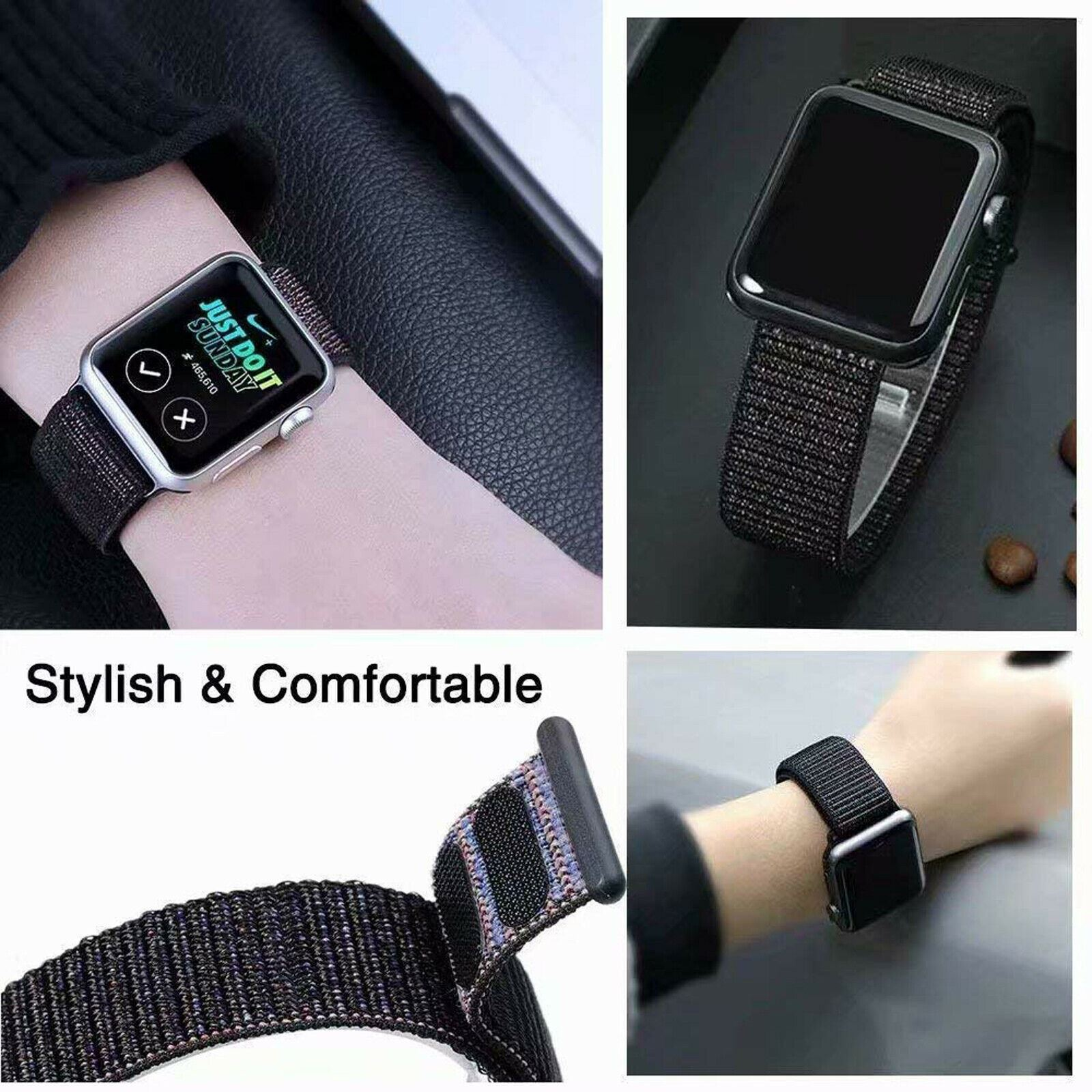 Band-Strap-For-Apple-Watch-Adjustable-Waterproof-Braided-Nylon-Material thumbnail 11