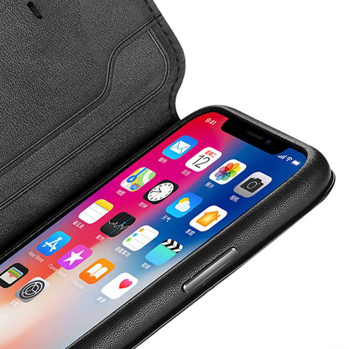 Genuine-Leather-Folio-Flip-Wallet-Case-Cover-For-Apple-iPhone-X-8-7-6S-6-Plus thumbnail 30