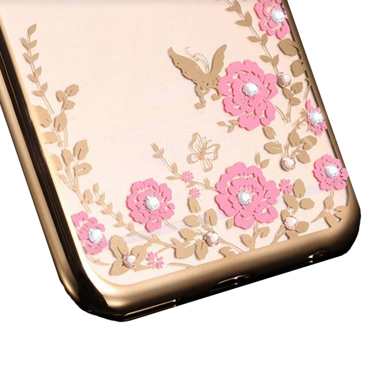 Soft-Gel-Case-For-iPhone-X-8-7-6-5s-5-Flower-Bling-Glitter-Diamond-Sparkly-Cover thumbnail 4