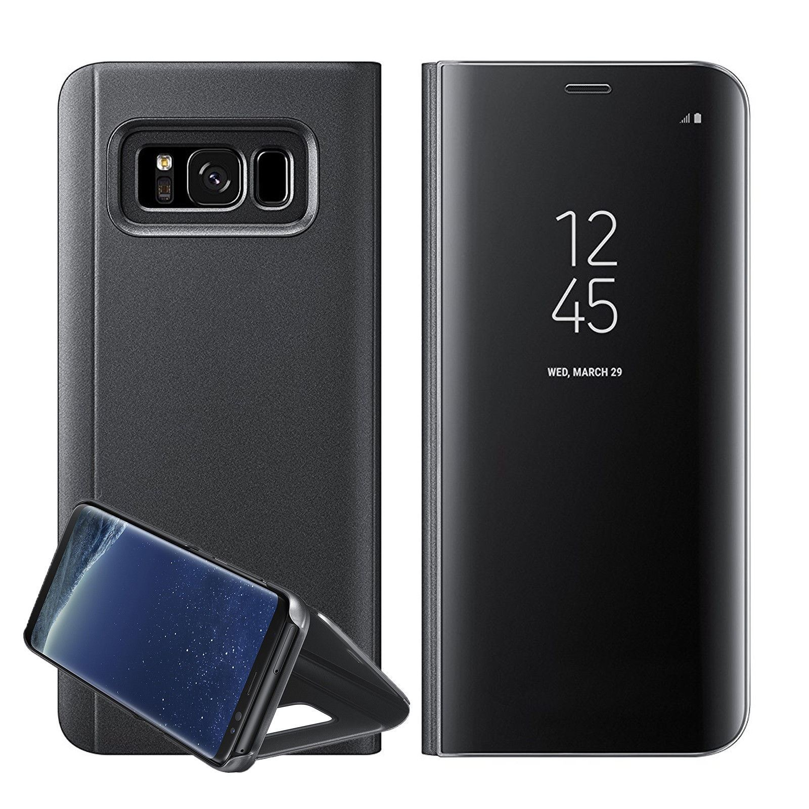 New-Samsung-Galaxy-S8-S9-S10-Smart-View-Mirror-Leather-Flip-Stand-Case-Cover miniatura 18