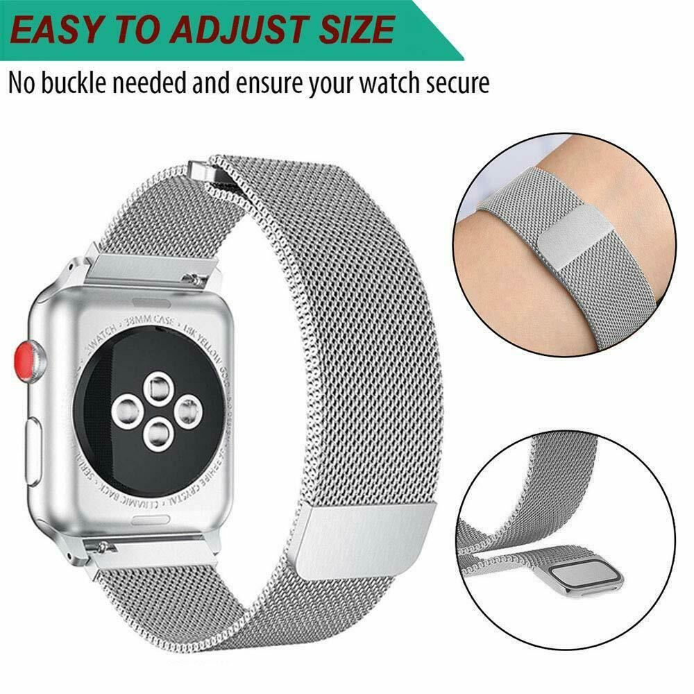 Band-For-Apple-Watch-Milannese-Loop-Stainless-Steel-Strap thumbnail 11