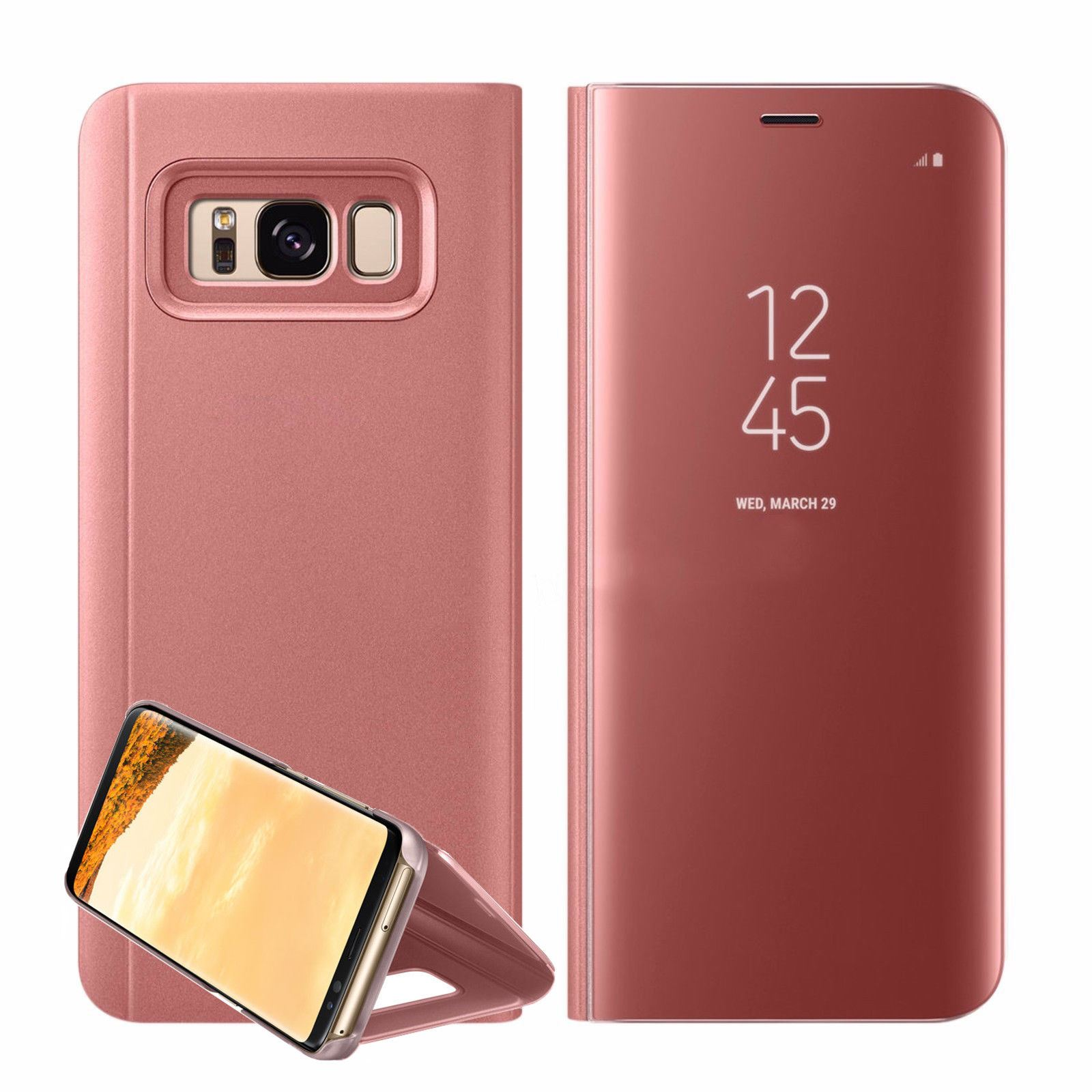 New-Samsung-Galaxy-S8-S9-S10-Smart-View-Mirror-Leather-Flip-Stand-Case-Cover miniatuur 24