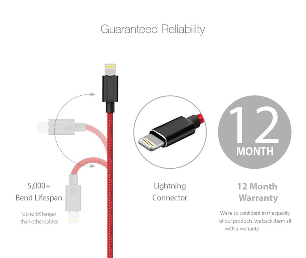 1M-2M-3M-Heavy-Duty-Braided-Lightning-Charger-Cable-For-iPhone-5-6-7-8-X-iPad thumbnail 16