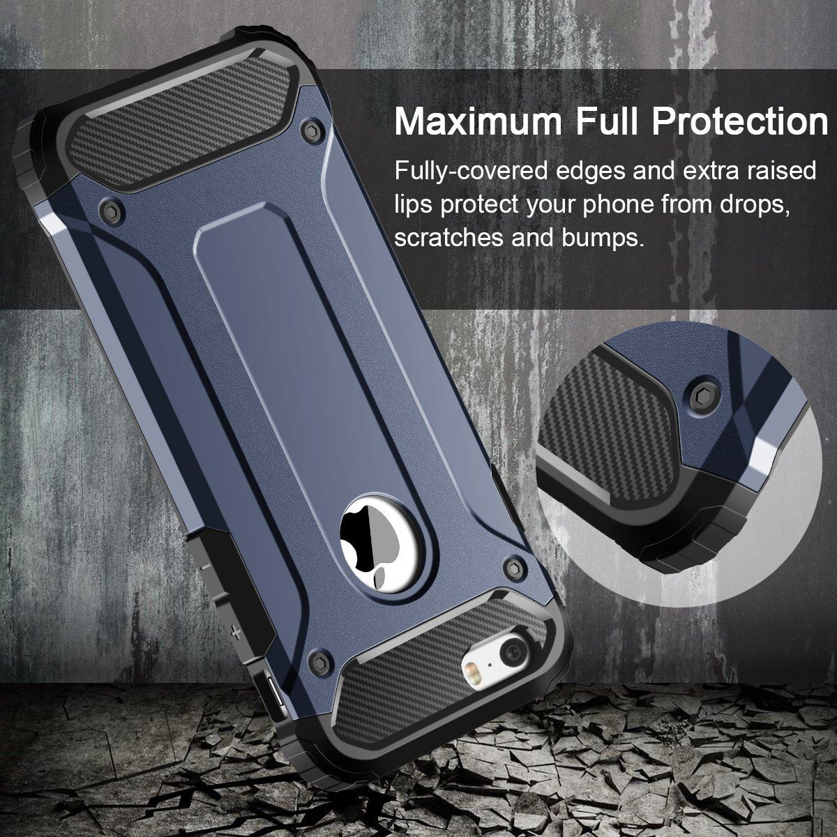 Hybrid-Armor-Shockproof-Rugged-Bumper-Case-For-Apple-iPhone-10-X-8-7-Plus-6s-5s miniature 59
