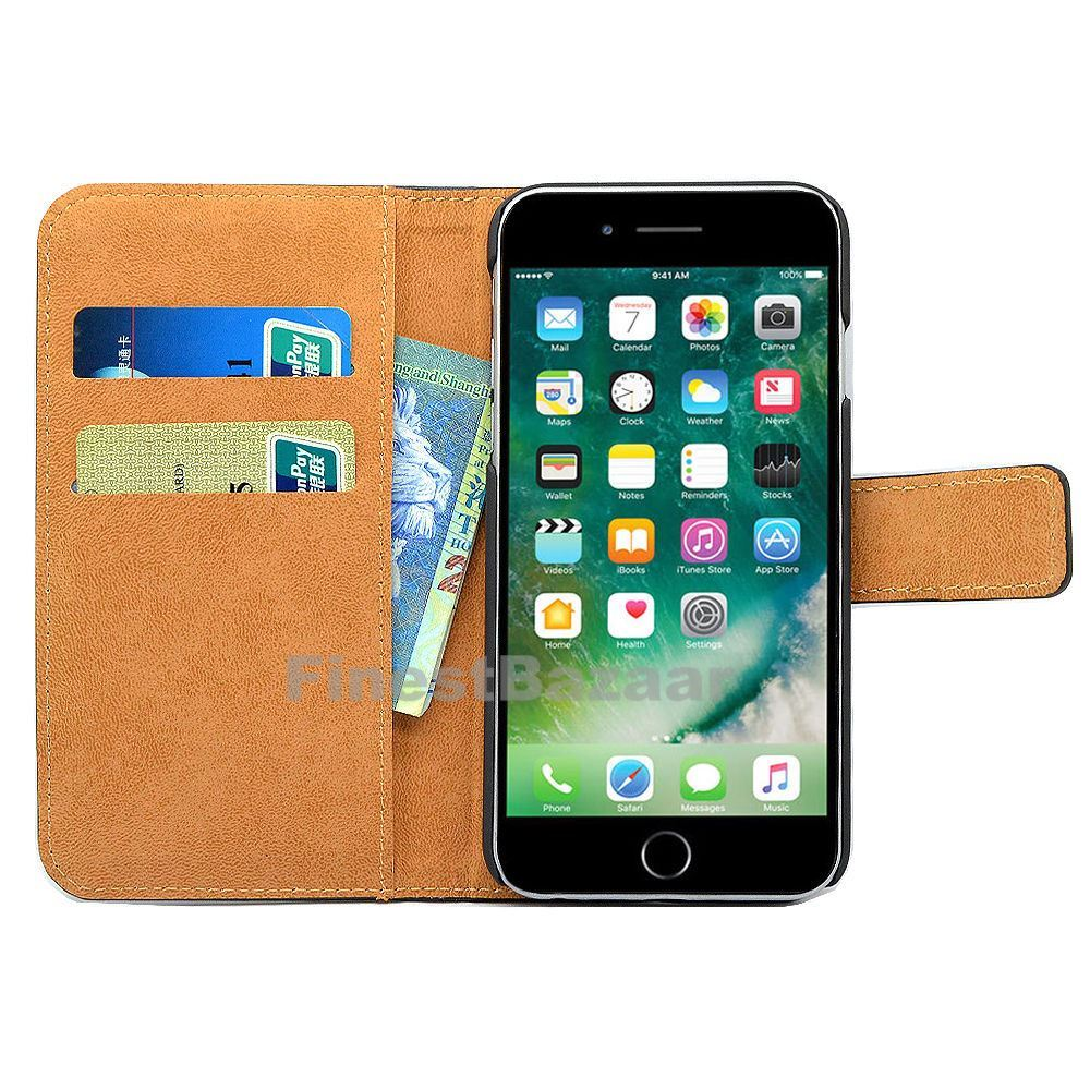 Genuine-Leather-Magnetic-Flip-Wallet-Case-Cover-For-Apple-iPhone-8-7-Plus-6S-5S thumbnail 56