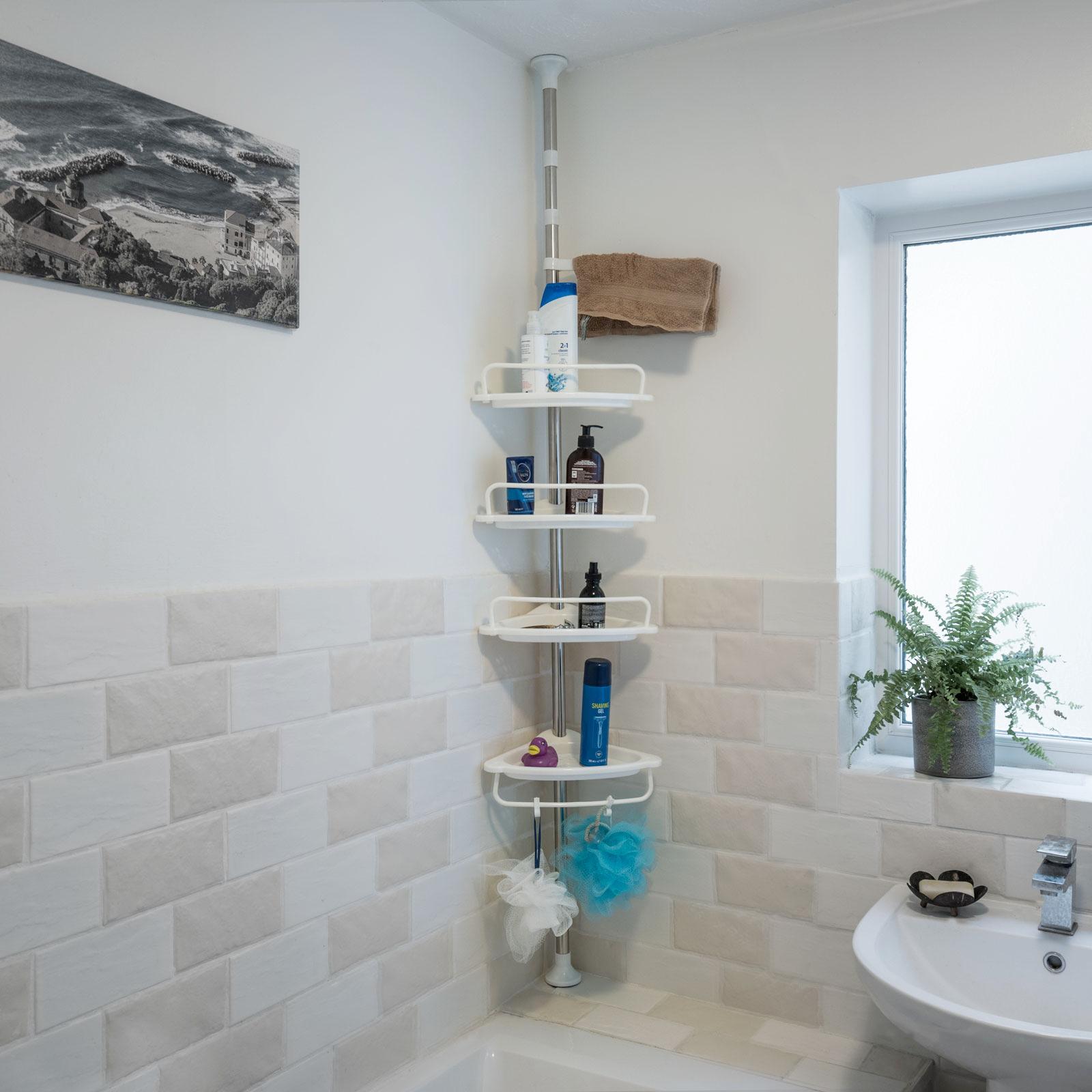 Stainless Steel 4 Tier Bathroom Corner Caddy Telescopic Shower Storage Shelf 5060502538901 Ebay