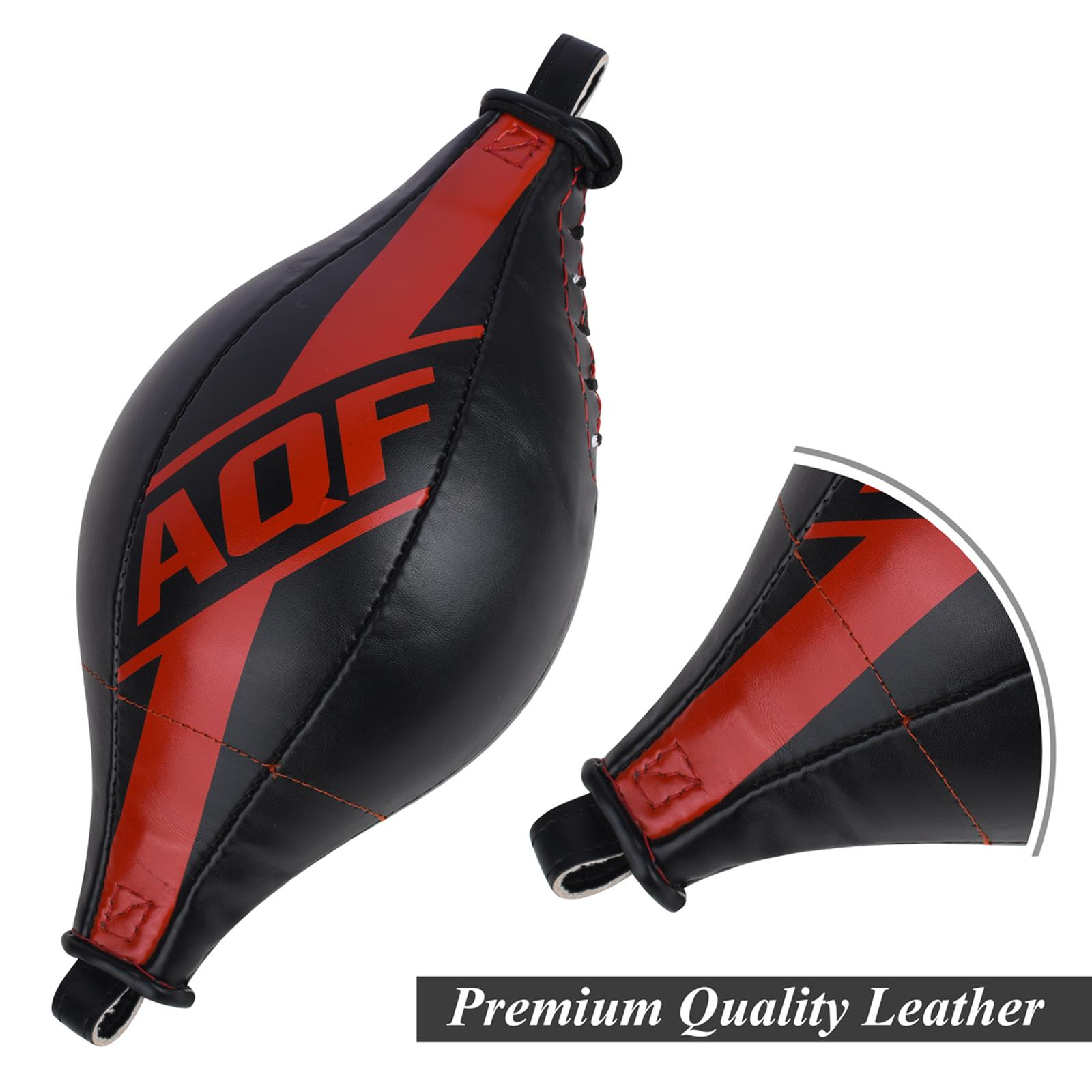 AQF Double End Speed Ball Rex Leather Floor to Ceiling Punch Bag Boxing MMA