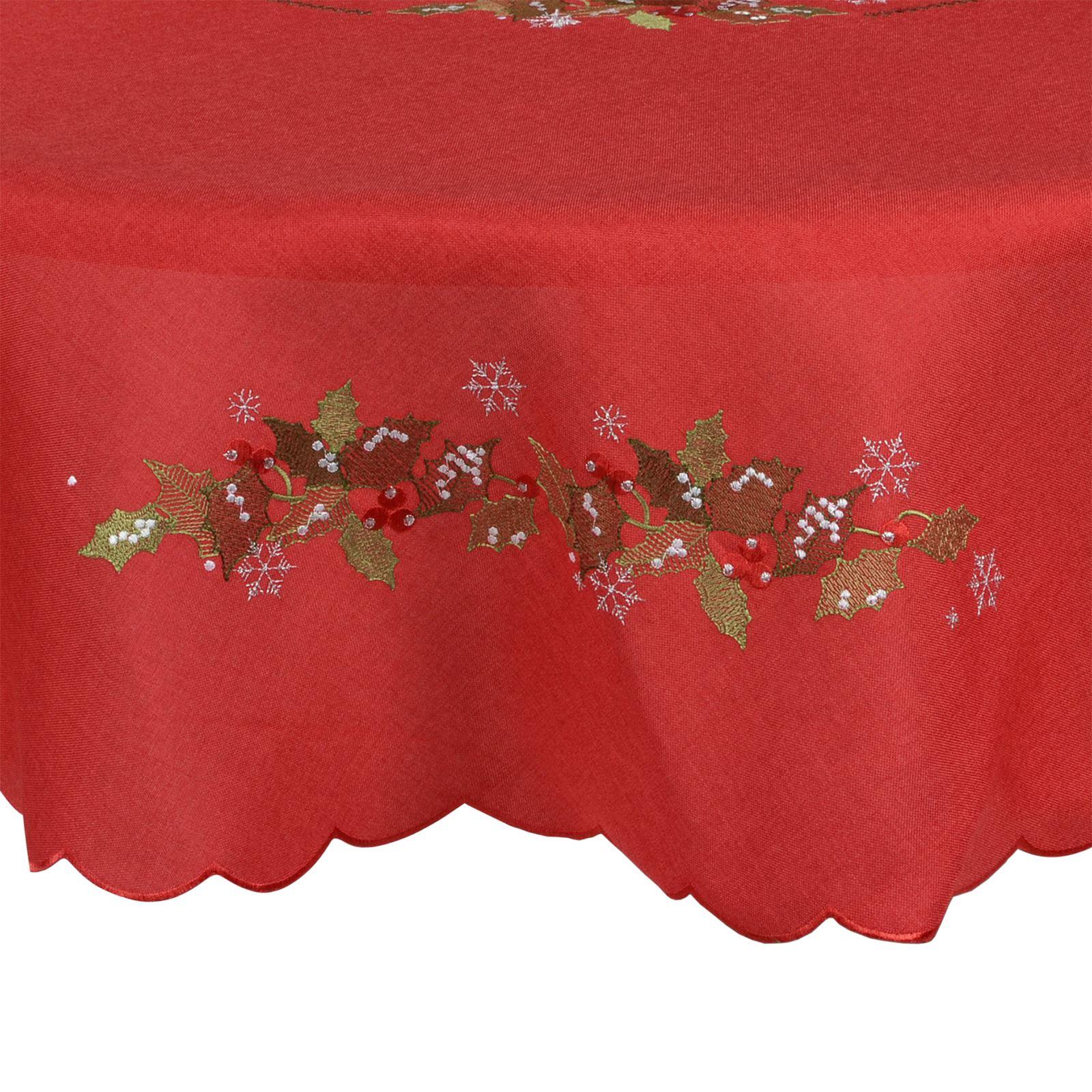 Christmas-Tablecloth-Festive-Pattern-Rectangle-Round-Fabric-Xmas-Room-Decoration Indexbild 90