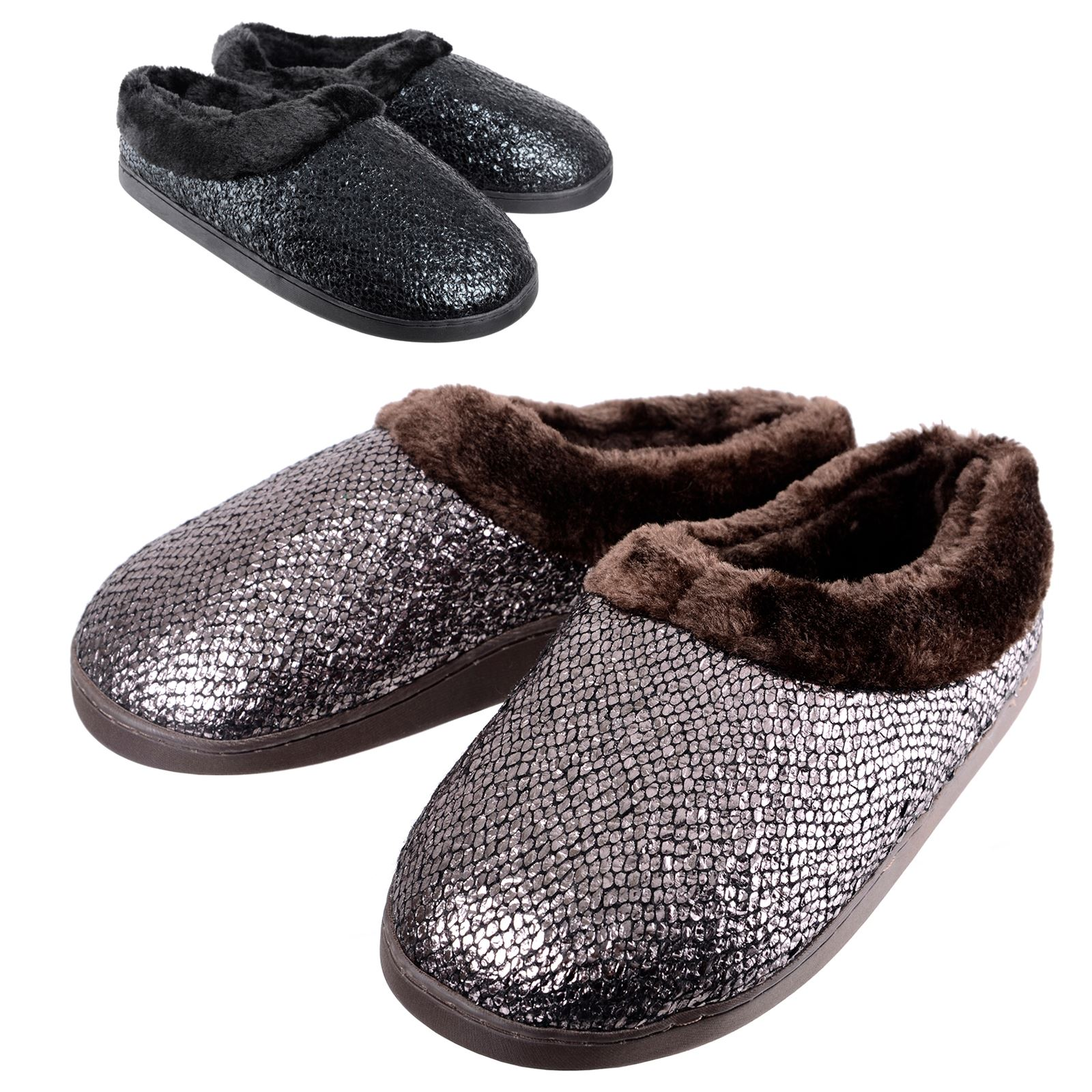 2b08b5354f12 Details about Ladies Sparkle Womens Glitter Slippers Warm Fleece Lining  Non-Slip Hard Soles