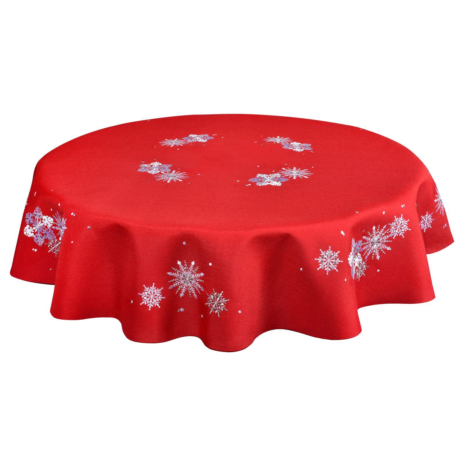 Christmas-Tablecloth-Festive-Pattern-Rectangle-Round-Fabric-Xmas-Room-Decoration Indexbild 39