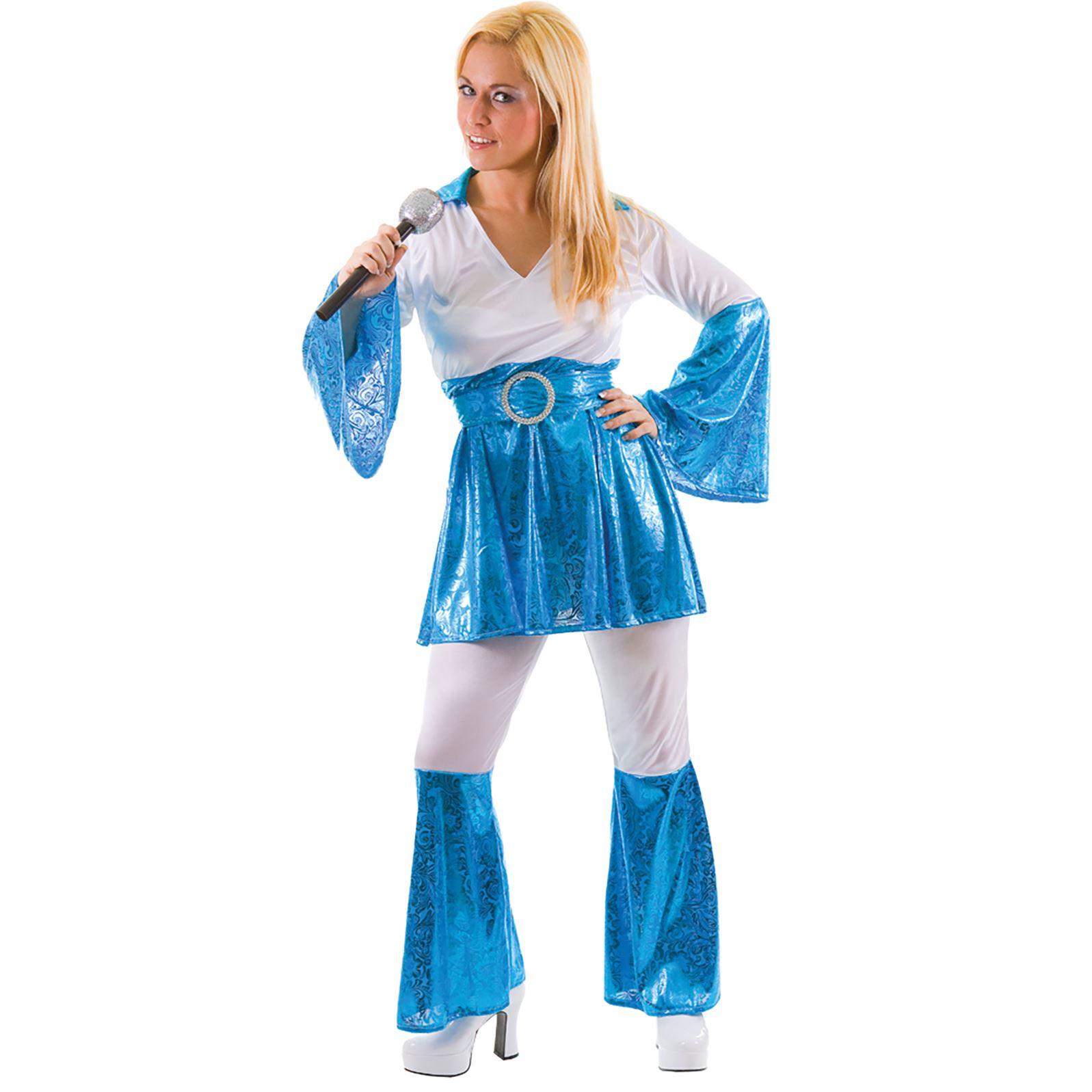 Ladies Blue Mamma Mia 70s Fancy Dress Up Party Halloween Costume ...