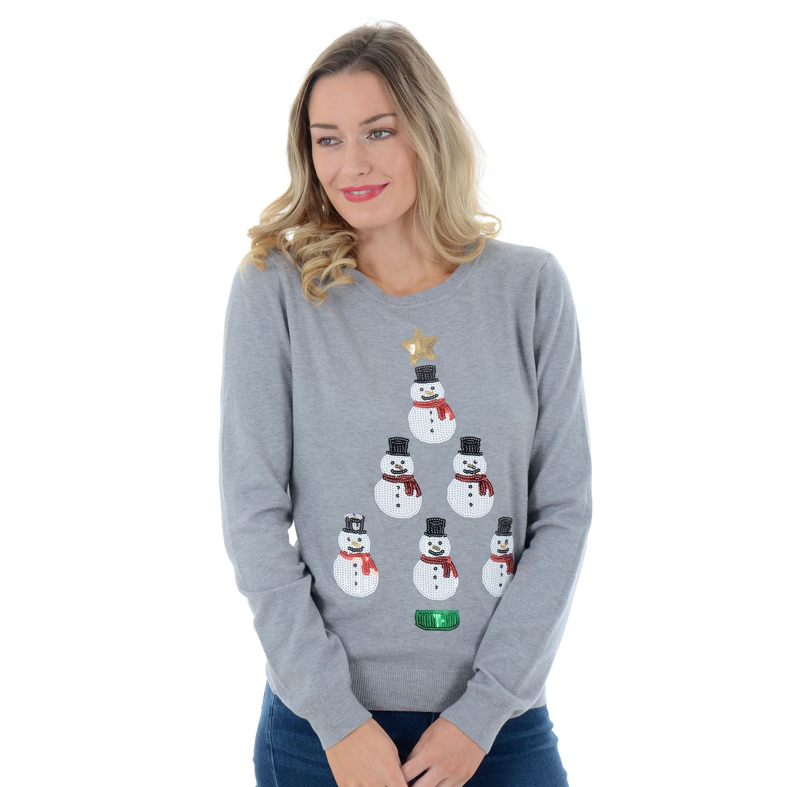 Ladies Womens Novelty Sequins Cute Snowmen Xmas Tree Christmas Jumper Sweater