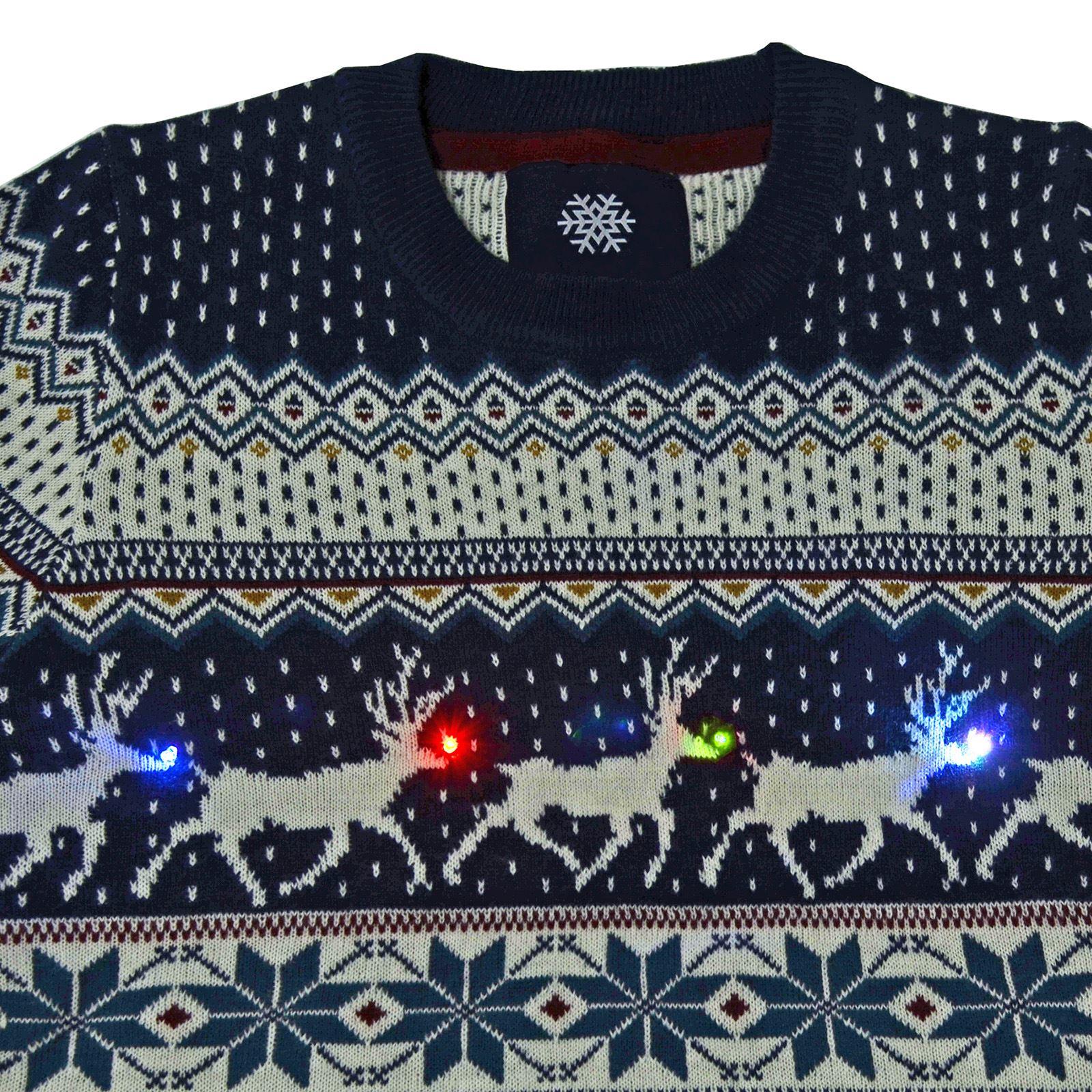 Mens Fair Isle Christmas Jumper Flashing Led Lights