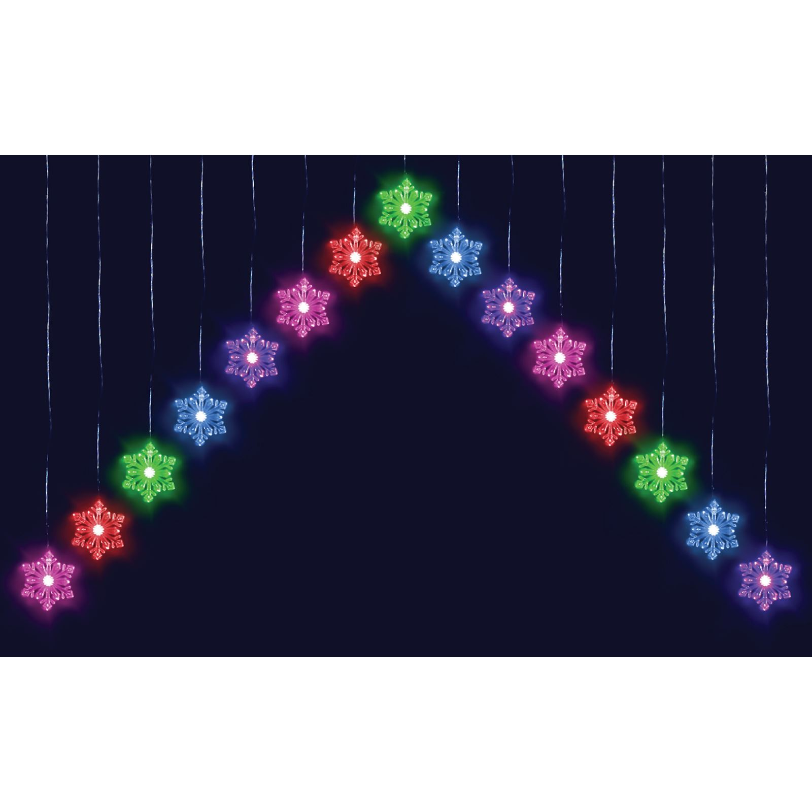 15 Colour Changing Led Snowflake Curtain Light Indoor Outdoor Christmas