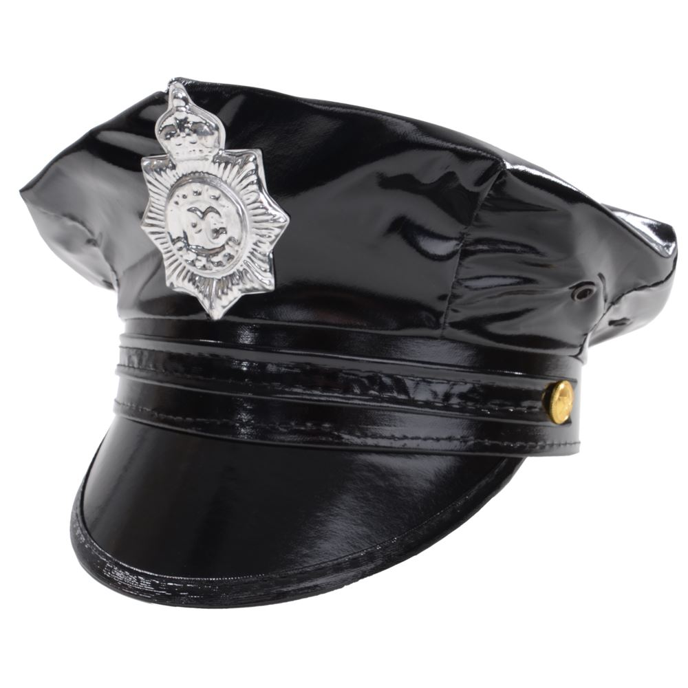 Deluxe Black YMCA Police Officer Uniform Cap Fancy Dress Halloween Party Hat
