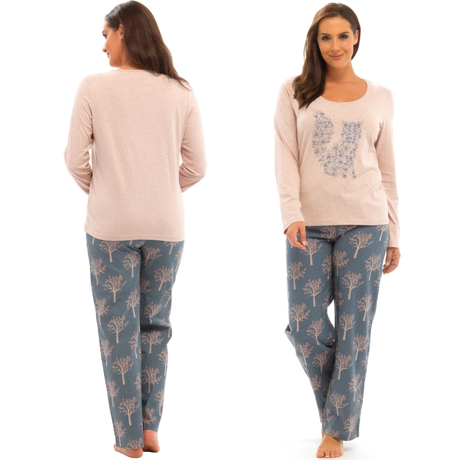 0a9c6276d7 Details about Ladies Pyjama Set Animal Design Top Woodland Print Flannel  Trousers Deer Or Fox