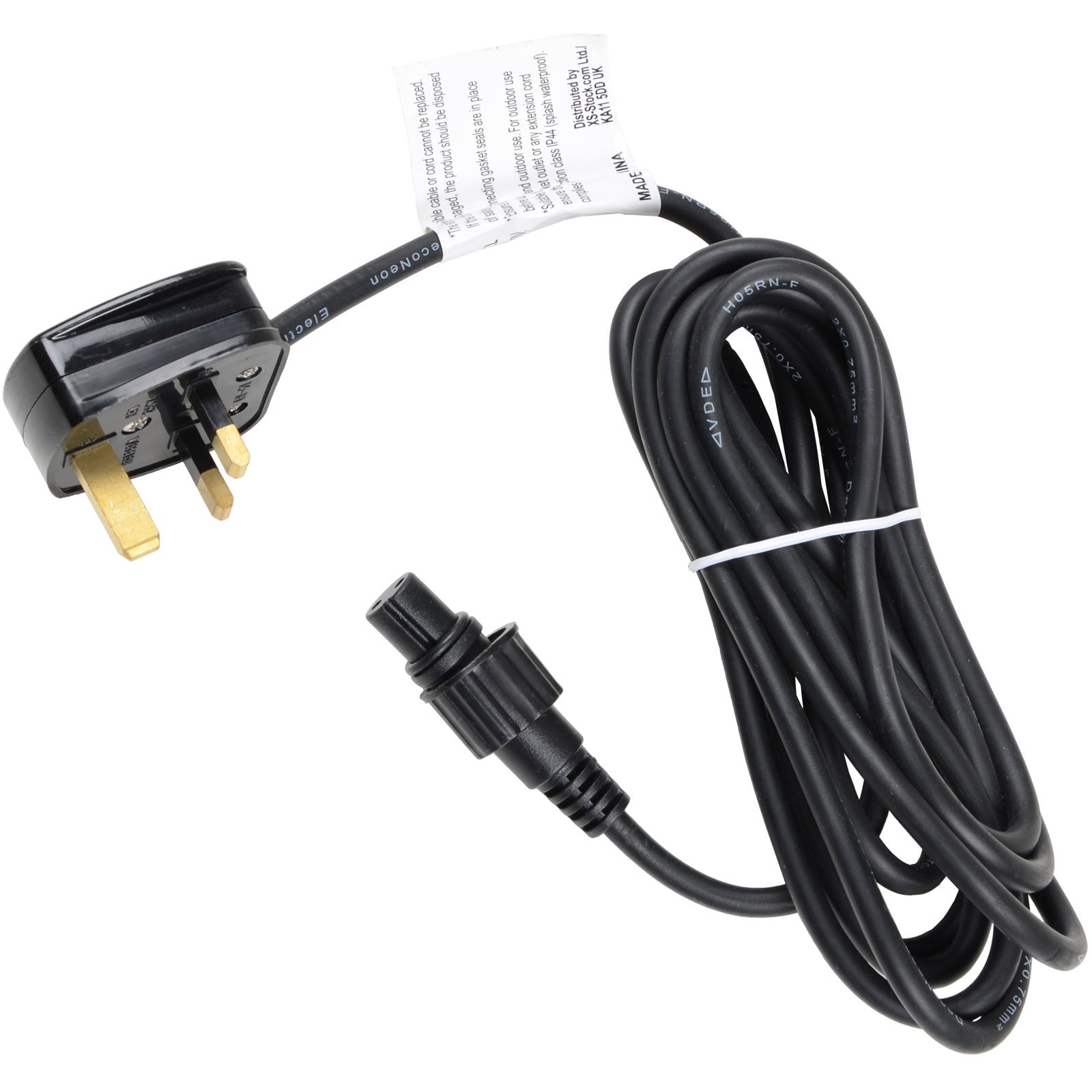 power cord 3m cable black for sparkles connectable lights mains plug
