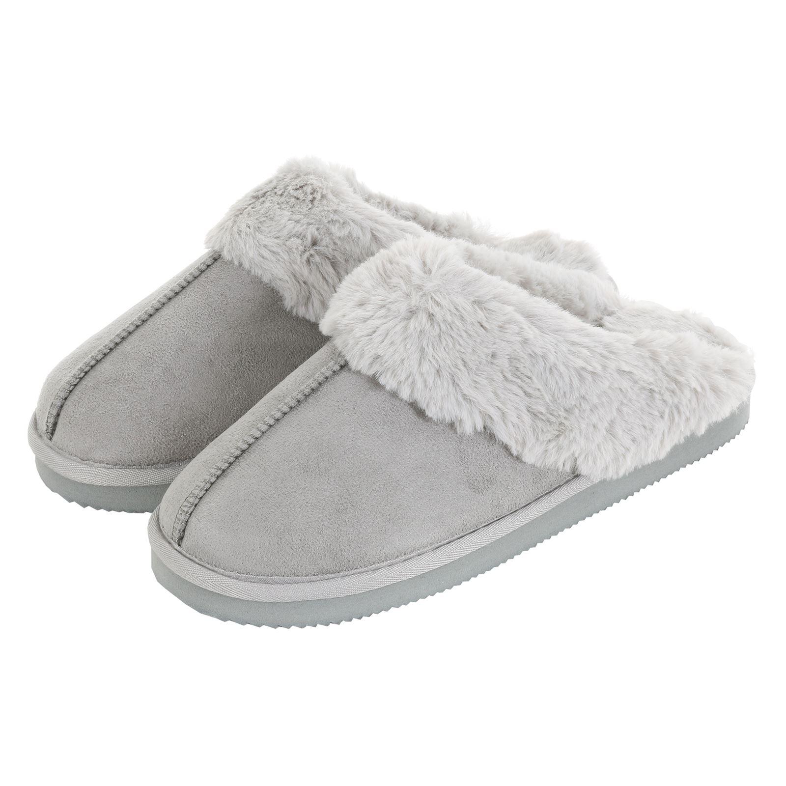 Geniune GCG Ladies Faux Sheepskin Slippers Mules Non Slip Hard Sole Womens GREY