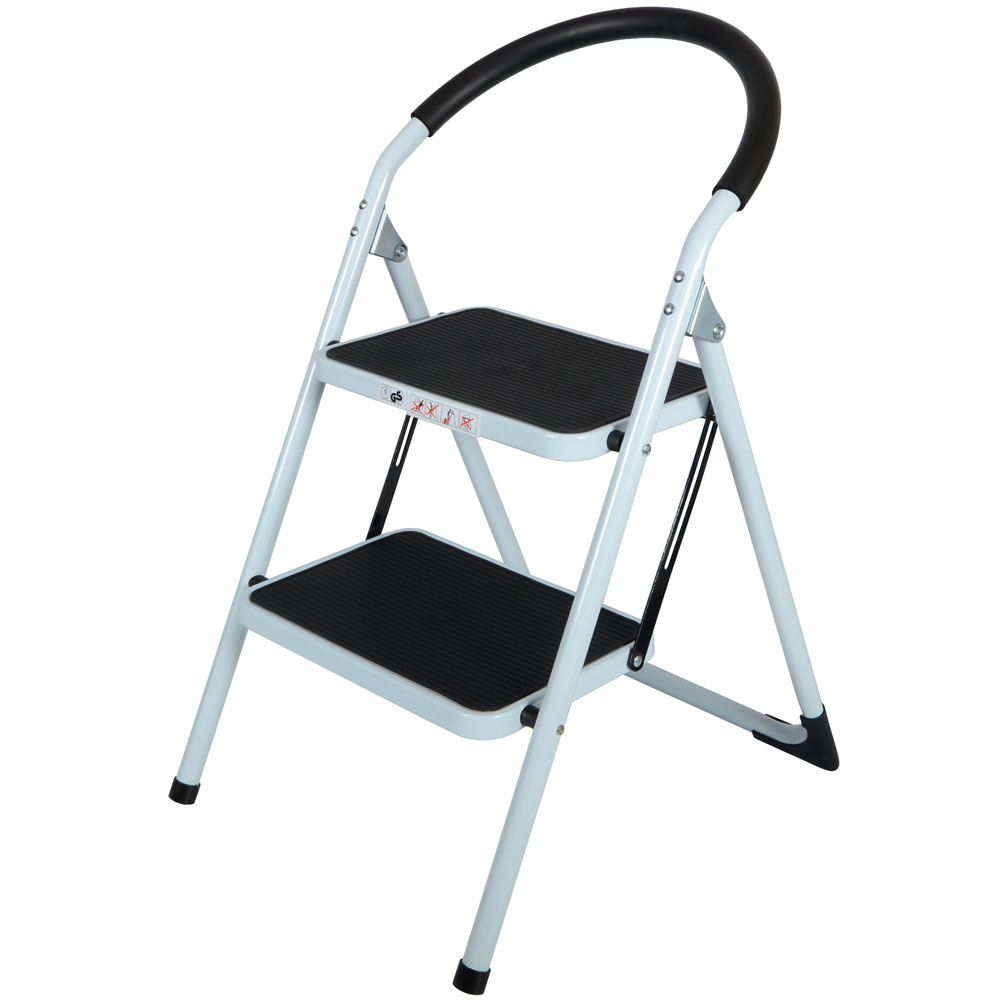 2 Step Non-Slip Tread Folding Step Ladder Kitchen Stool DIY Home ...