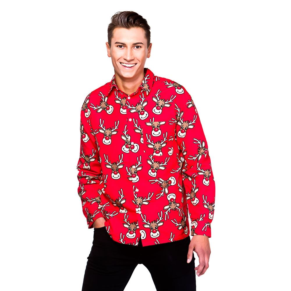 304fcae9bb Details about Mens Novelty Christmas Long Sleeve Shirt Reindeer Xmas Pattern