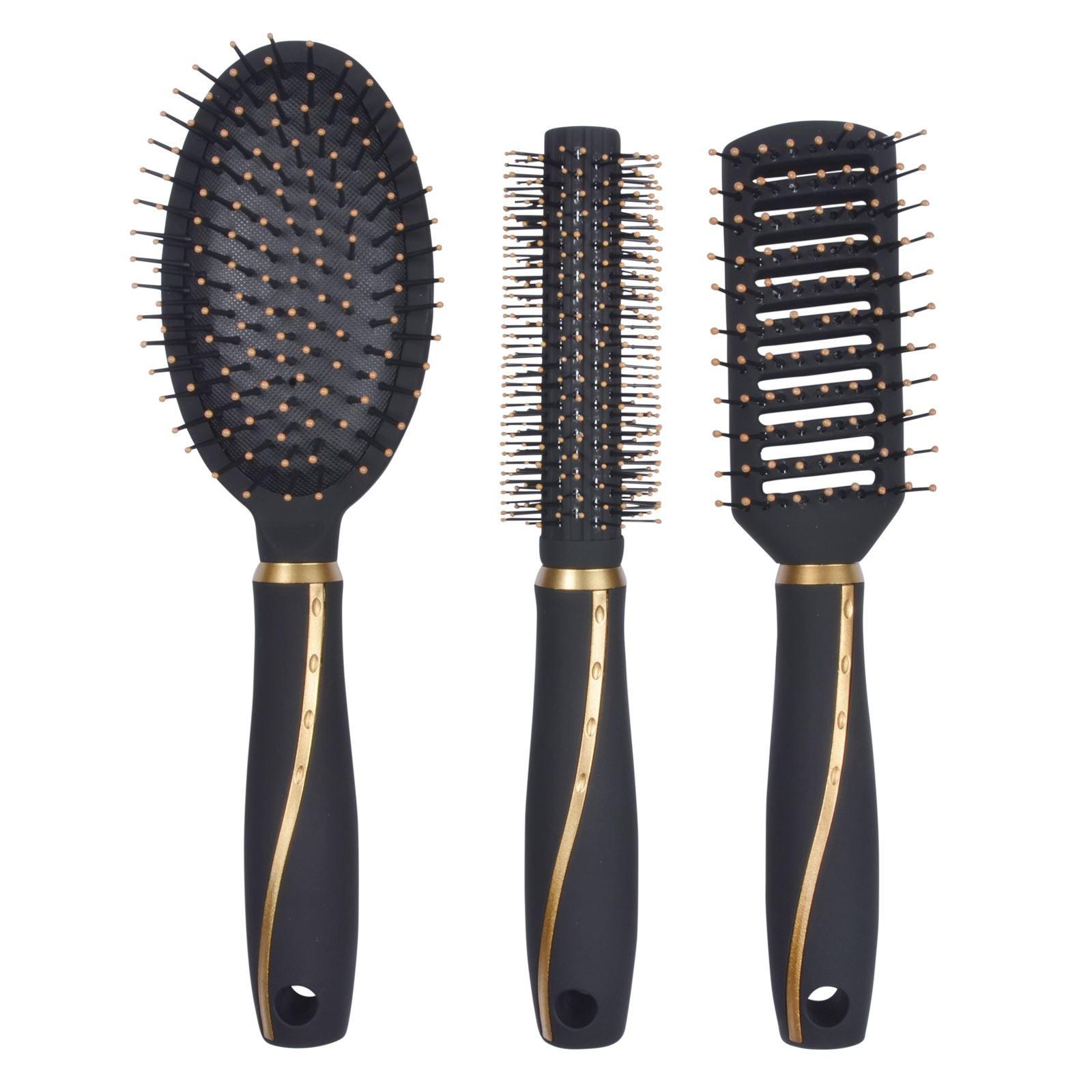 3Pc Professional Hair Brush Set Salon High Quality