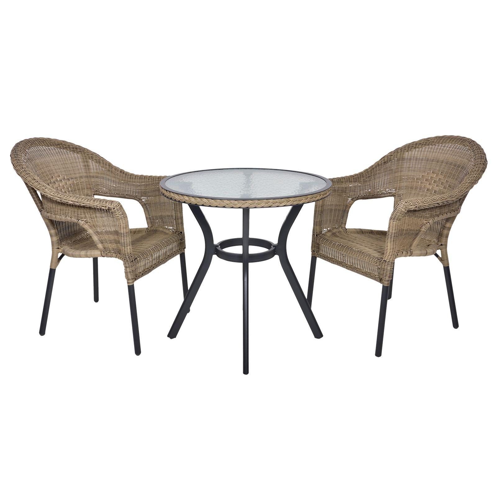 Havana Rattan Wicker Bistro 2 Seat Garden Patio Furniture Table