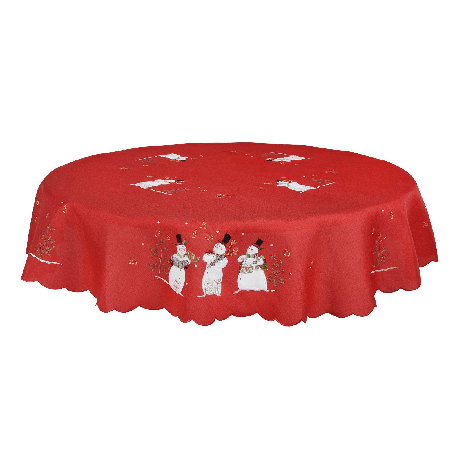 Christmas-Tablecloth-Festive-Pattern-Rectangle-Round-Fabric-Xmas-Room-Decoration Indexbild 131