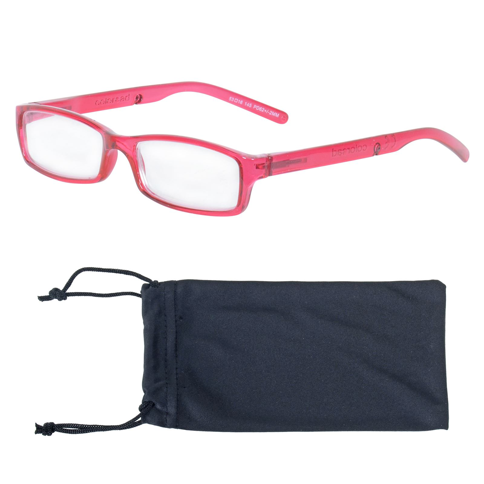 e903f091fbd Details about Sight Station Red Reading Glasses With Case Rectangle Plastic  Frames +2.50