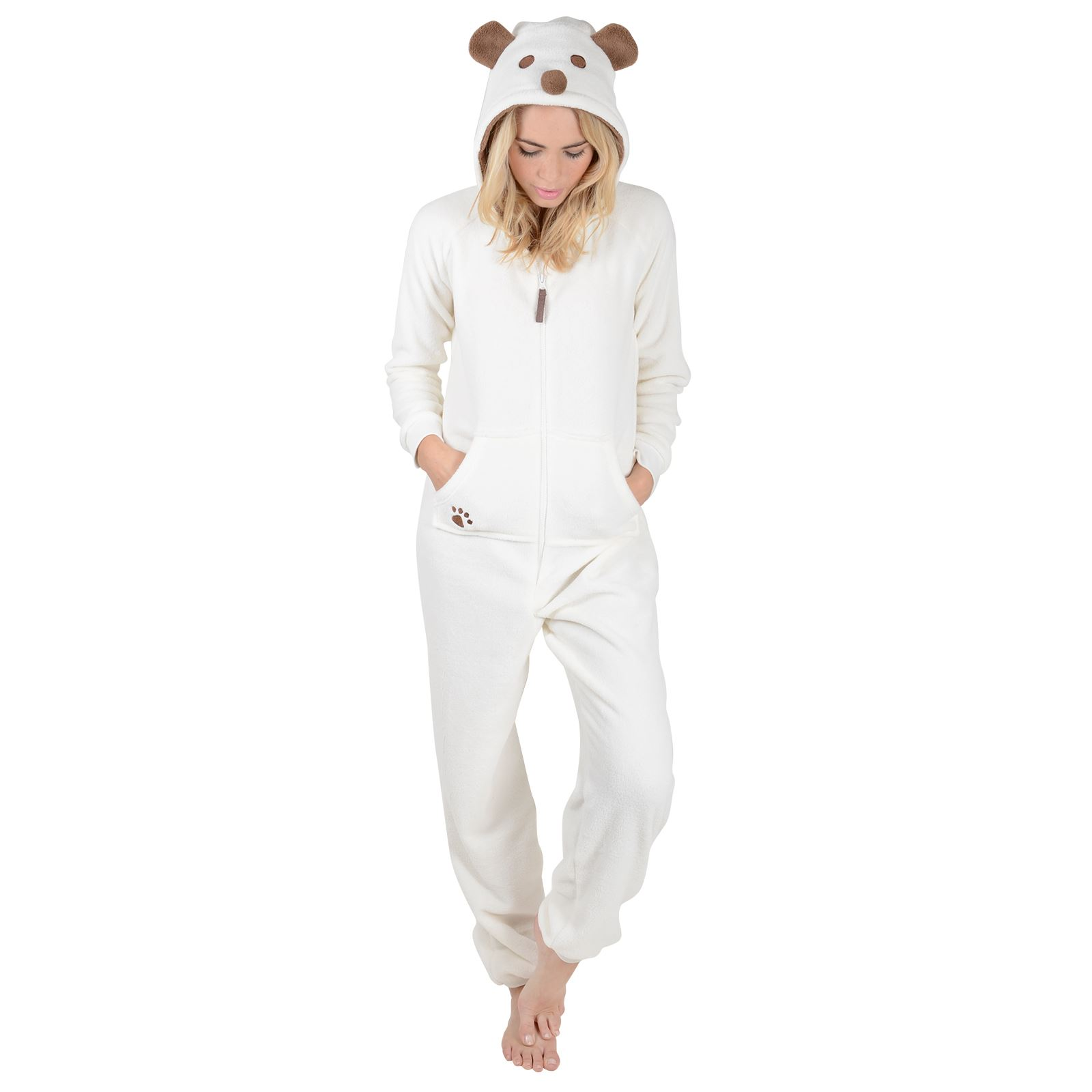 9b37fa177df96 New Ladies Fleece All In One Piece Pyjamas Jump Sleep Suit PJs ...