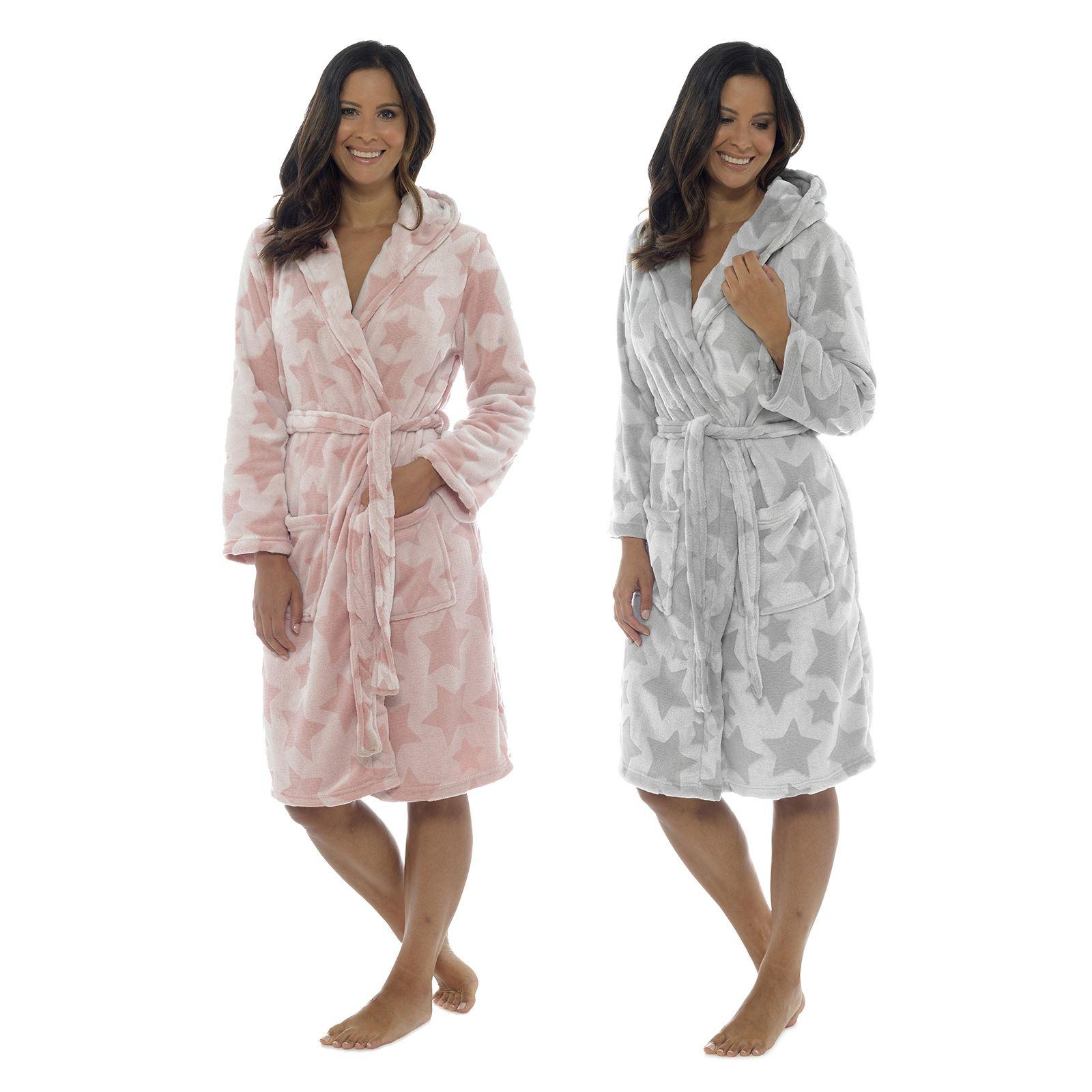 Ladies Soft Star Design Embossed Bathrobe Womens Dressing Gown Housecoat Wrap