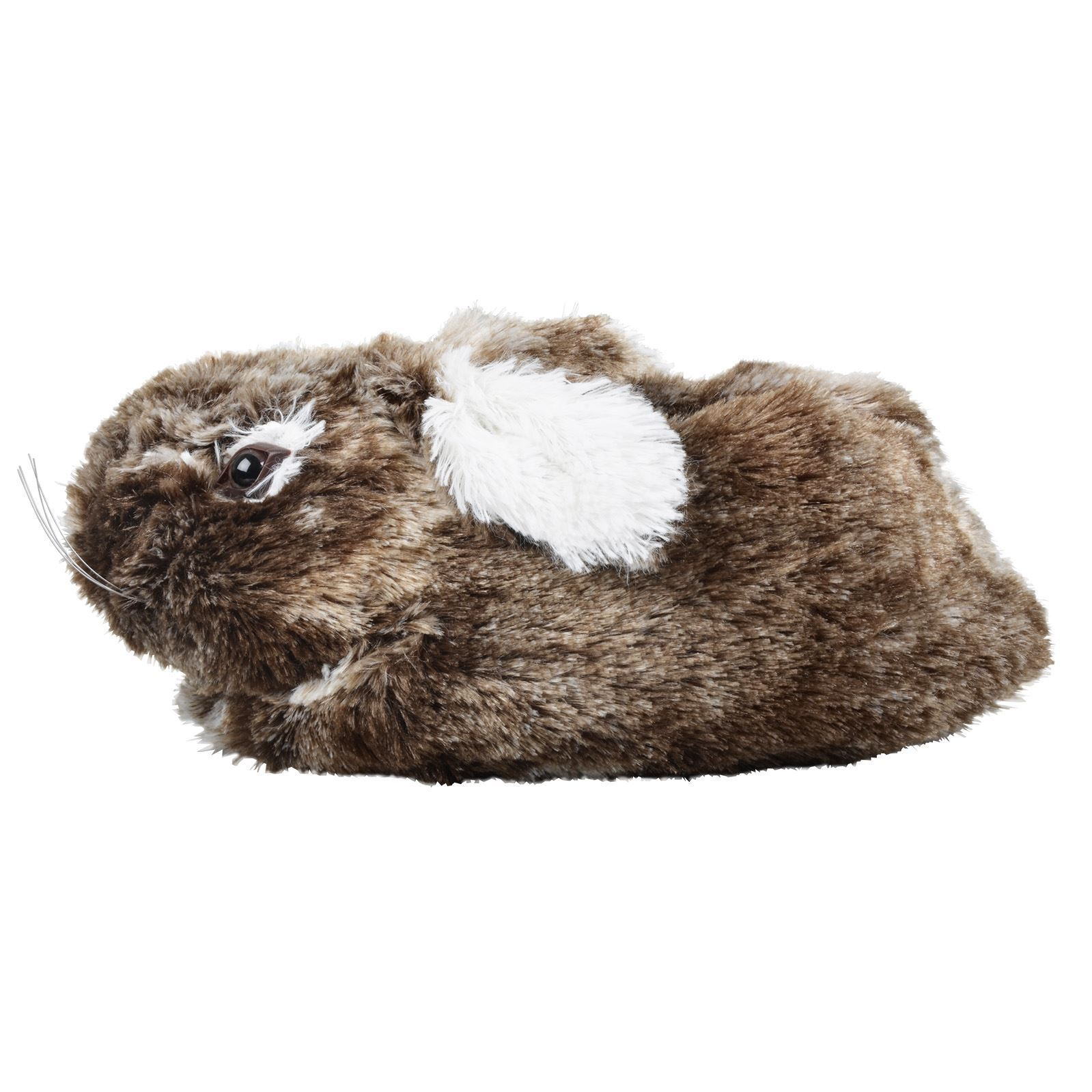 Girls Bunny Rabbit Slippers With Brown Faux Fur Non-Slip Sole Kids UK Sizes 12-2