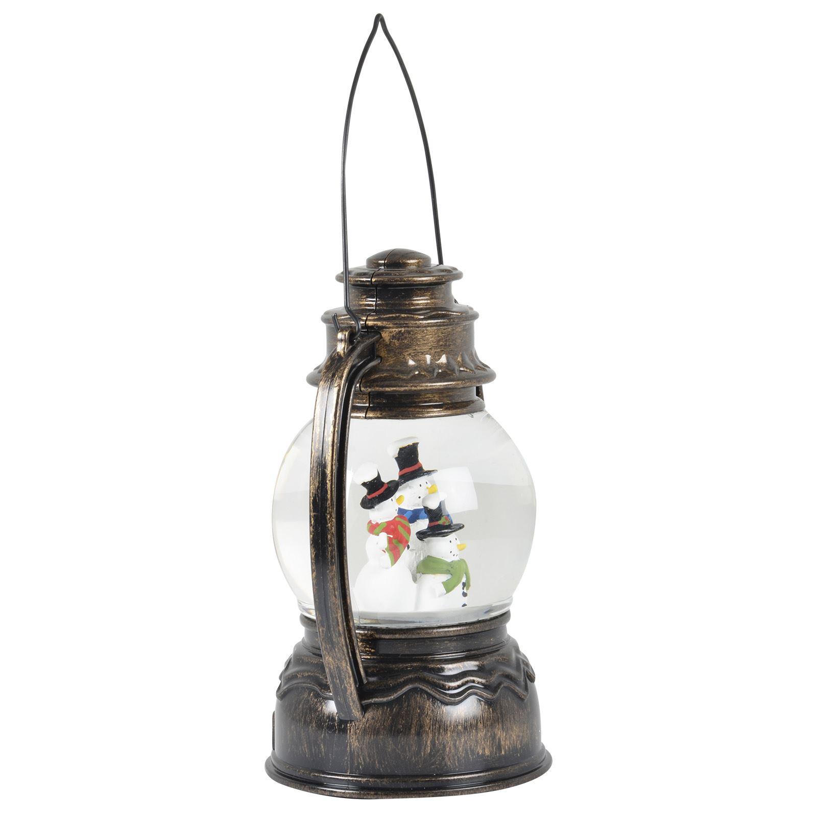 Snowman Christmas Lantern Water Filled Snowing Globe White LED Light ...