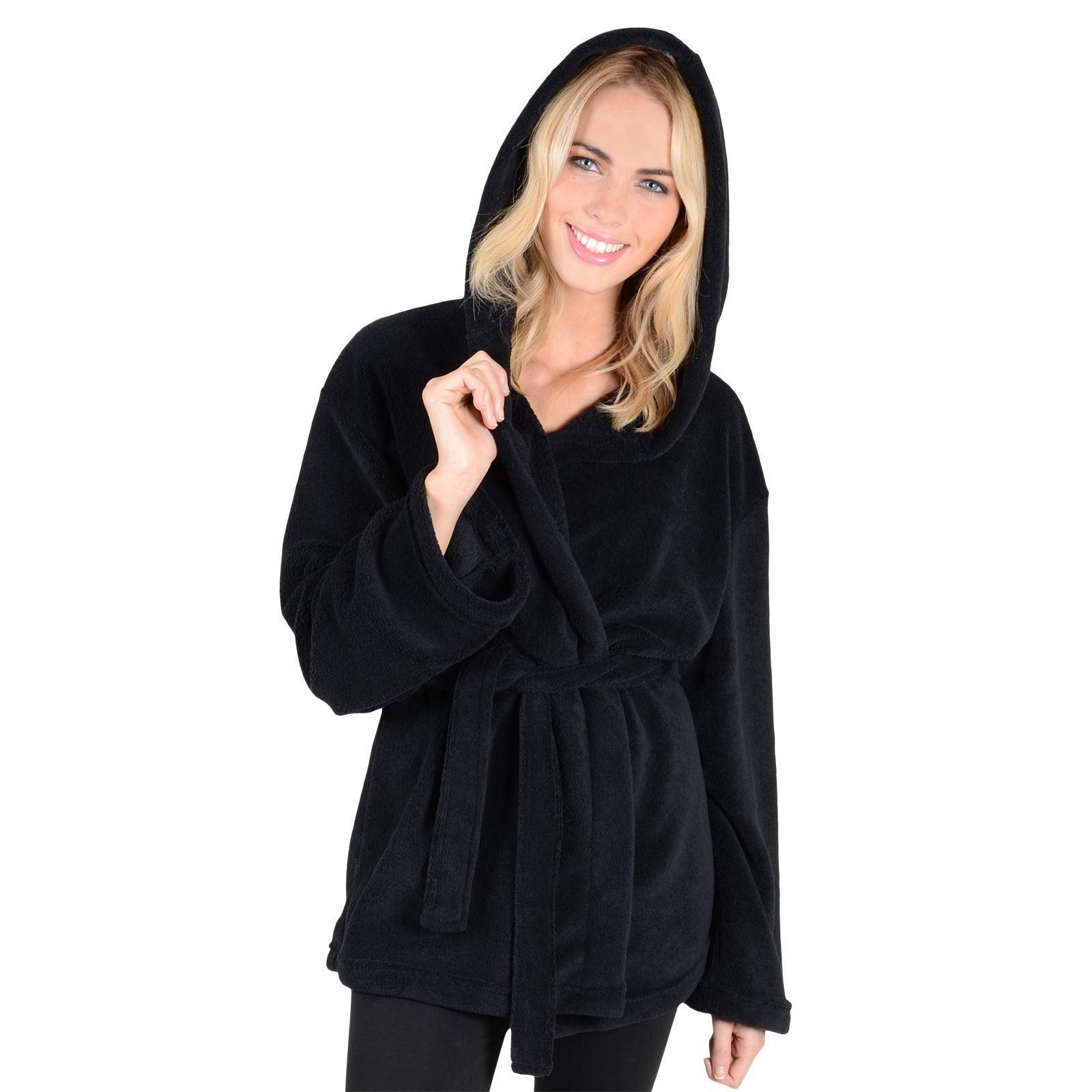 New Ladies Hooded Fleece Mini Bathrobe Womens Short Dressing Gown ...