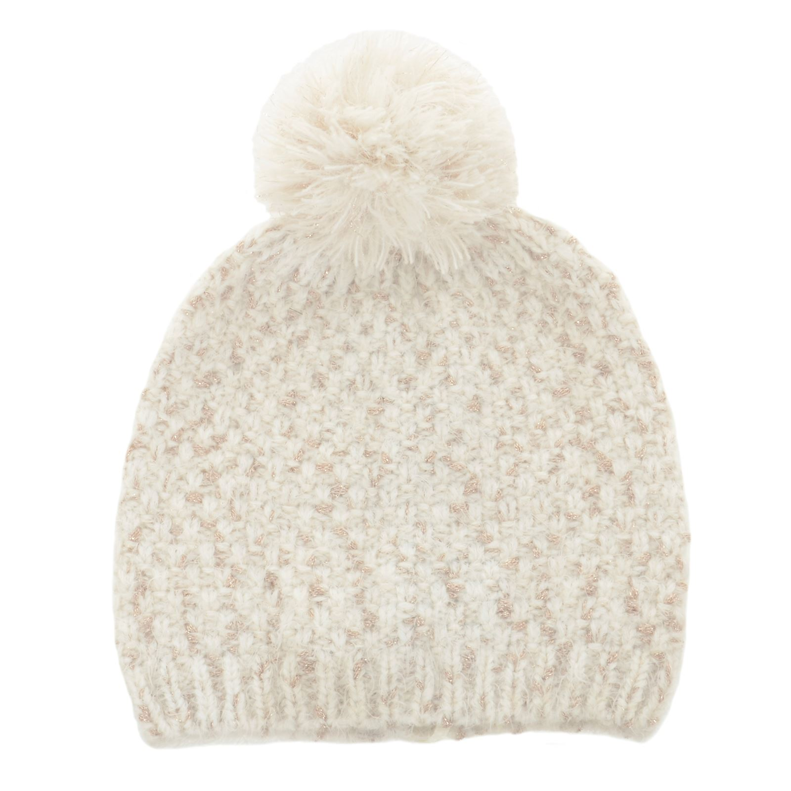 cdc12cb6c41 Details about Womens Ladies Ivory Gold Knit Beanie Hat With Pom Pom Fashion  (Maddie)