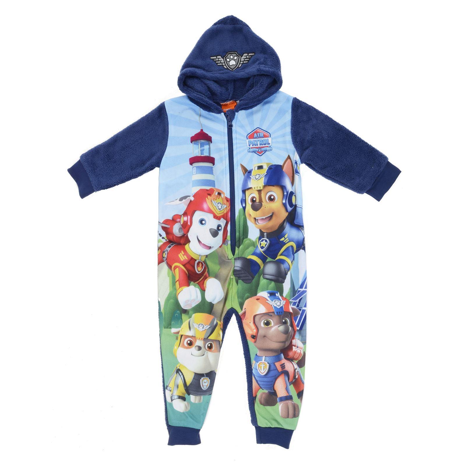 Details about PAW Patrol Kids All In One Hooded Sleep Suit Pyjamas PJs  Fleece Nightwear Blue be2a64d2e