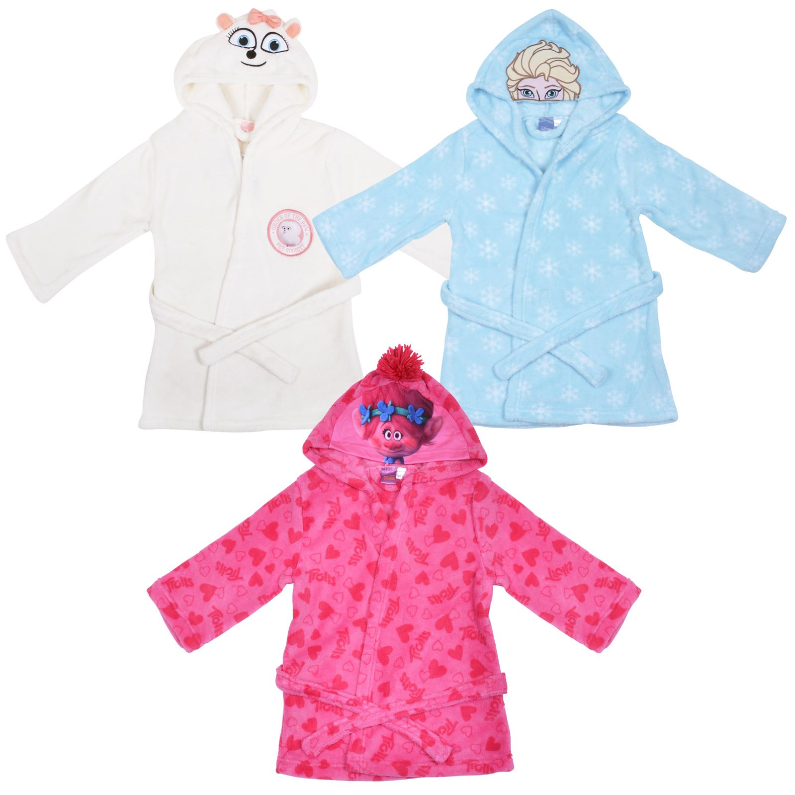 GIRLS FLEECE DRESSING Gown Hooded Bath Robe Home Bedtime Pyjamas PJs ... 4270a3b8c