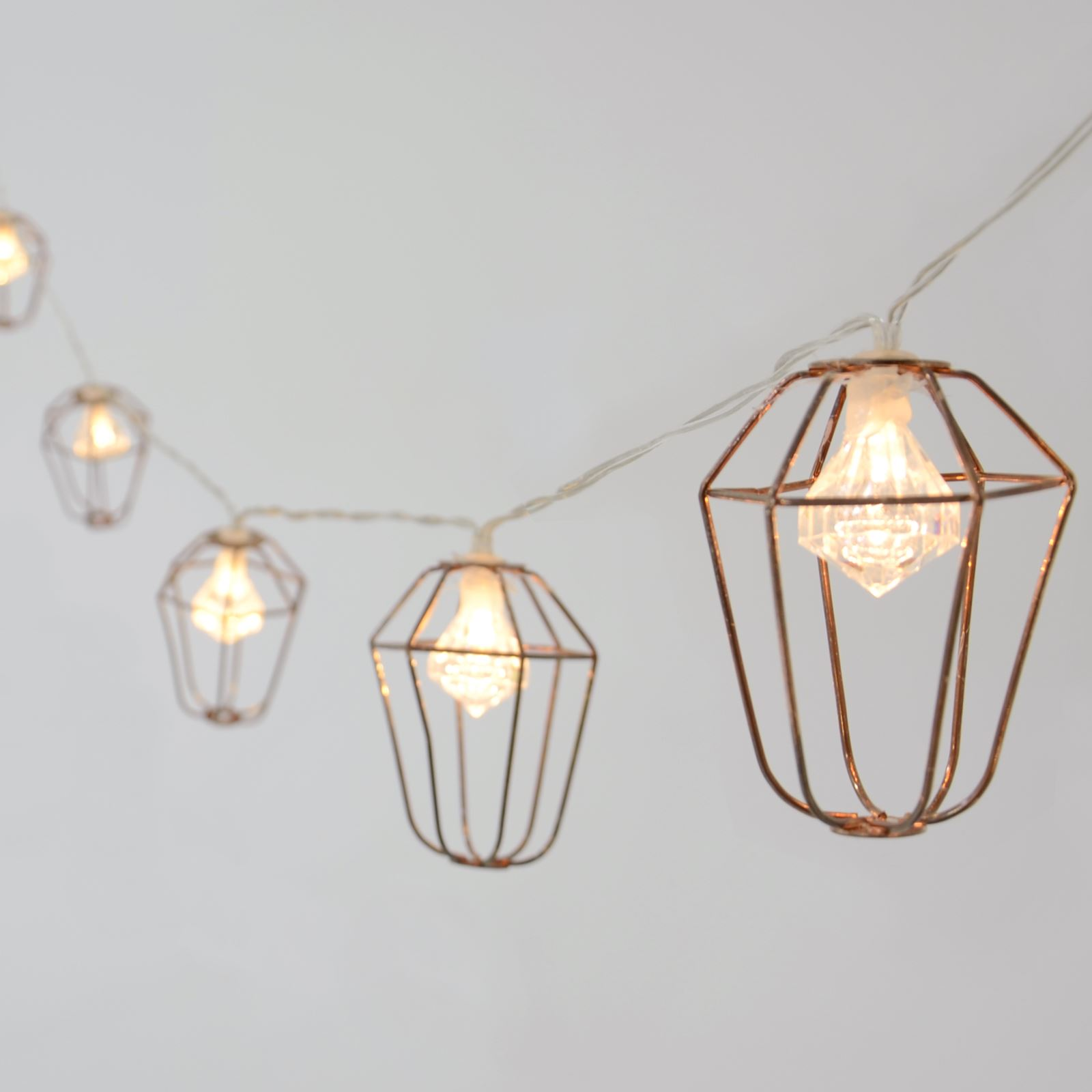 new product e541b 9267a Details about 10 Rose Gold Mini Cage Lantern String Lights With Diamond  Shaped LED Bulbs Xmas