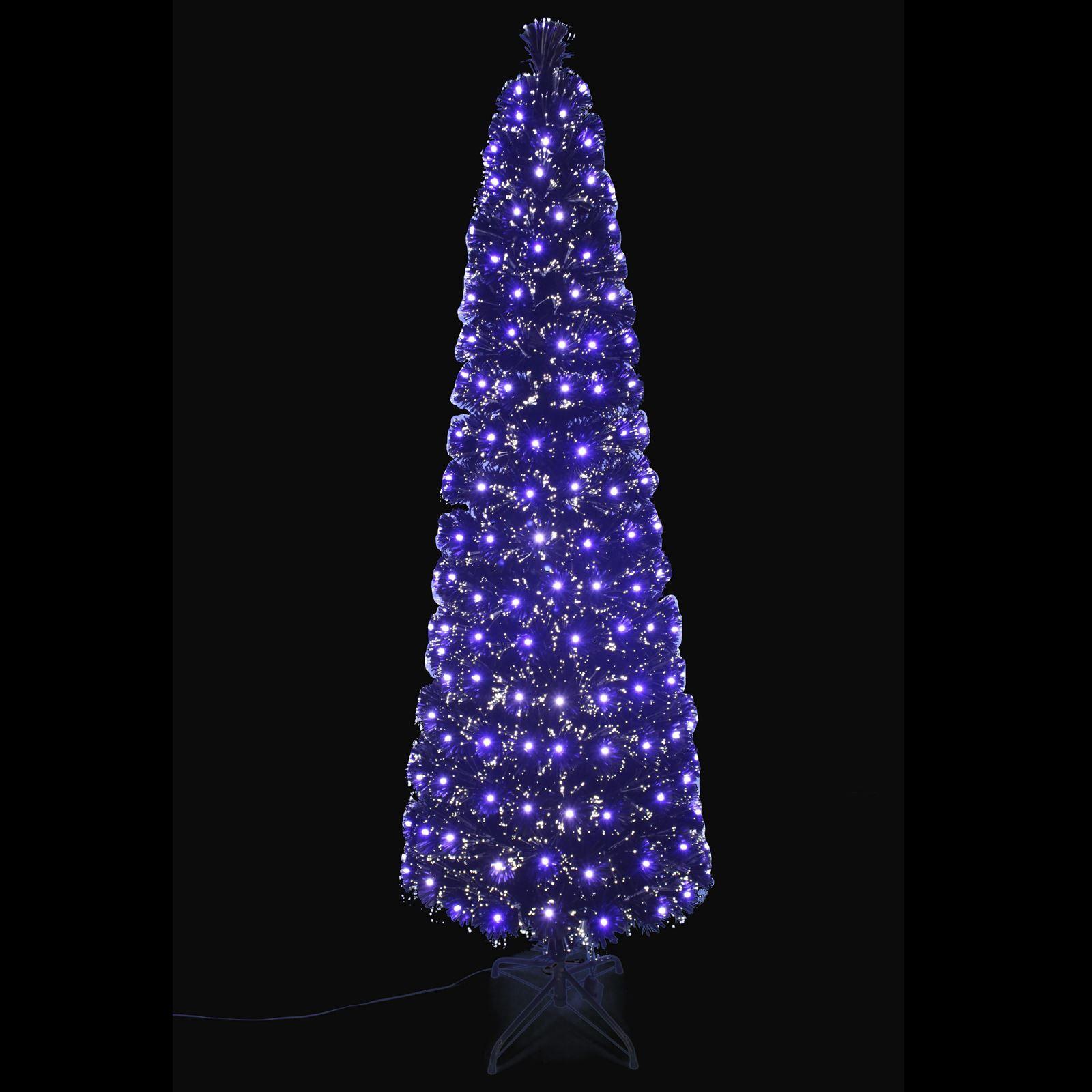 6ft Black Matte Fibre Optic Christmas Tree Slim Pencil Shape White Blue Leds 5055354250866 Ebay