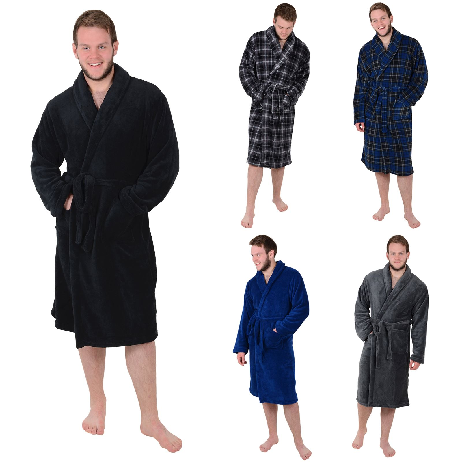 Details about Mens Luxury Coral Fleece Bath Robe Tie Belt Dressing Gown  Housecoat Bathrobe 471f001df